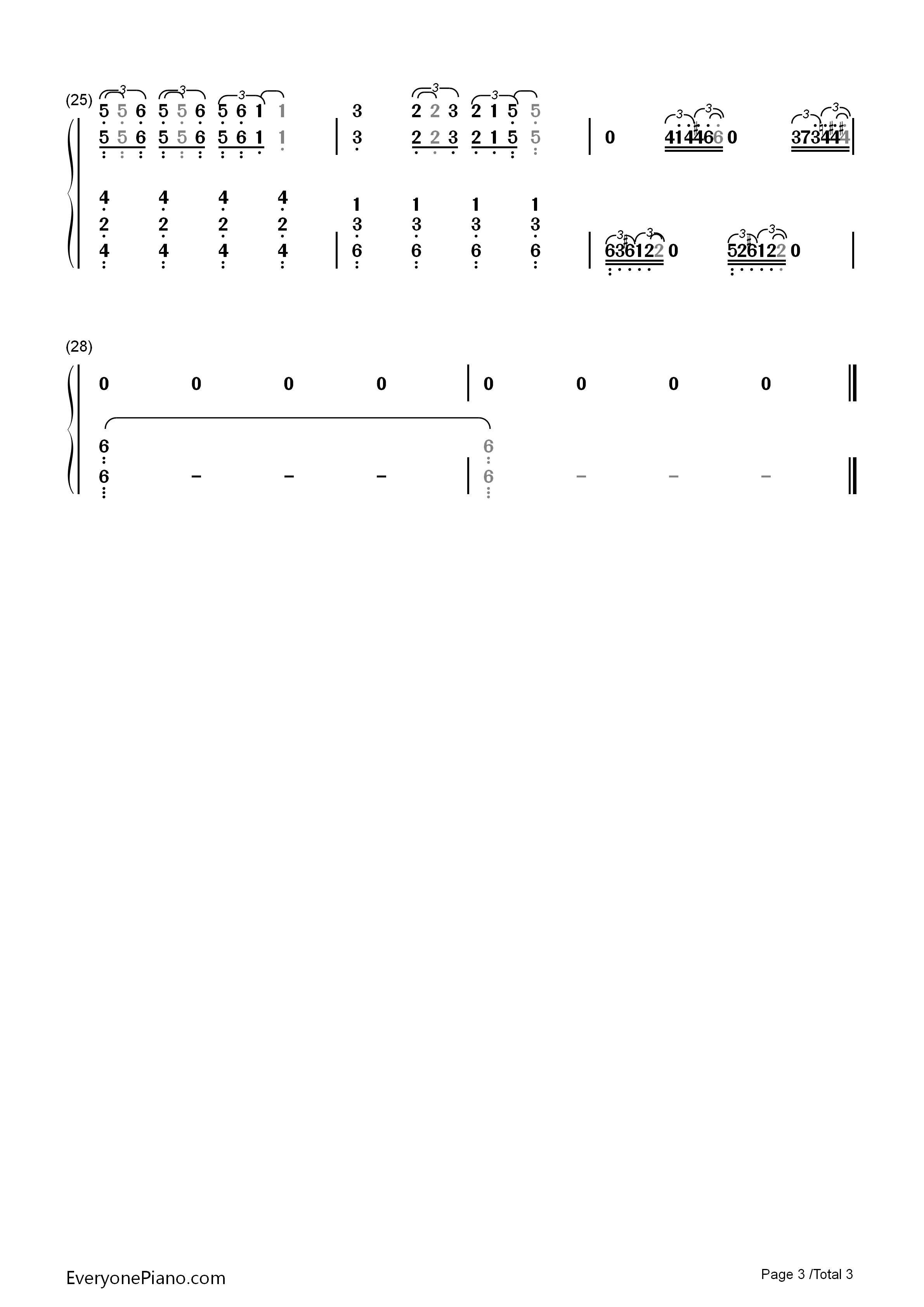 钢琴曲谱 影视 main title theme westworld-西部世界主题曲 main
