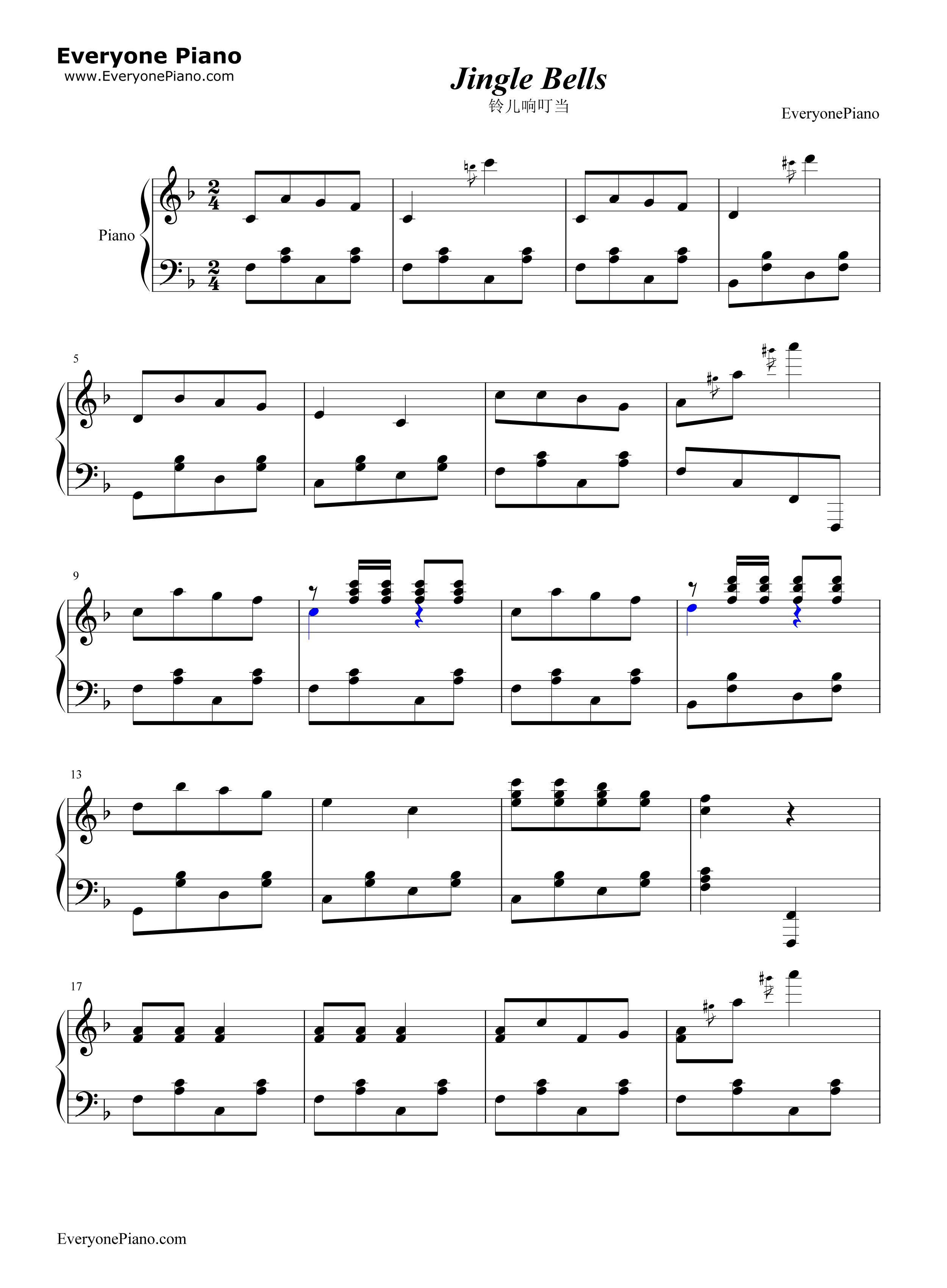 铃儿响叮当-炫技版五线谱预览1-钢琴谱(五线谱,双手)