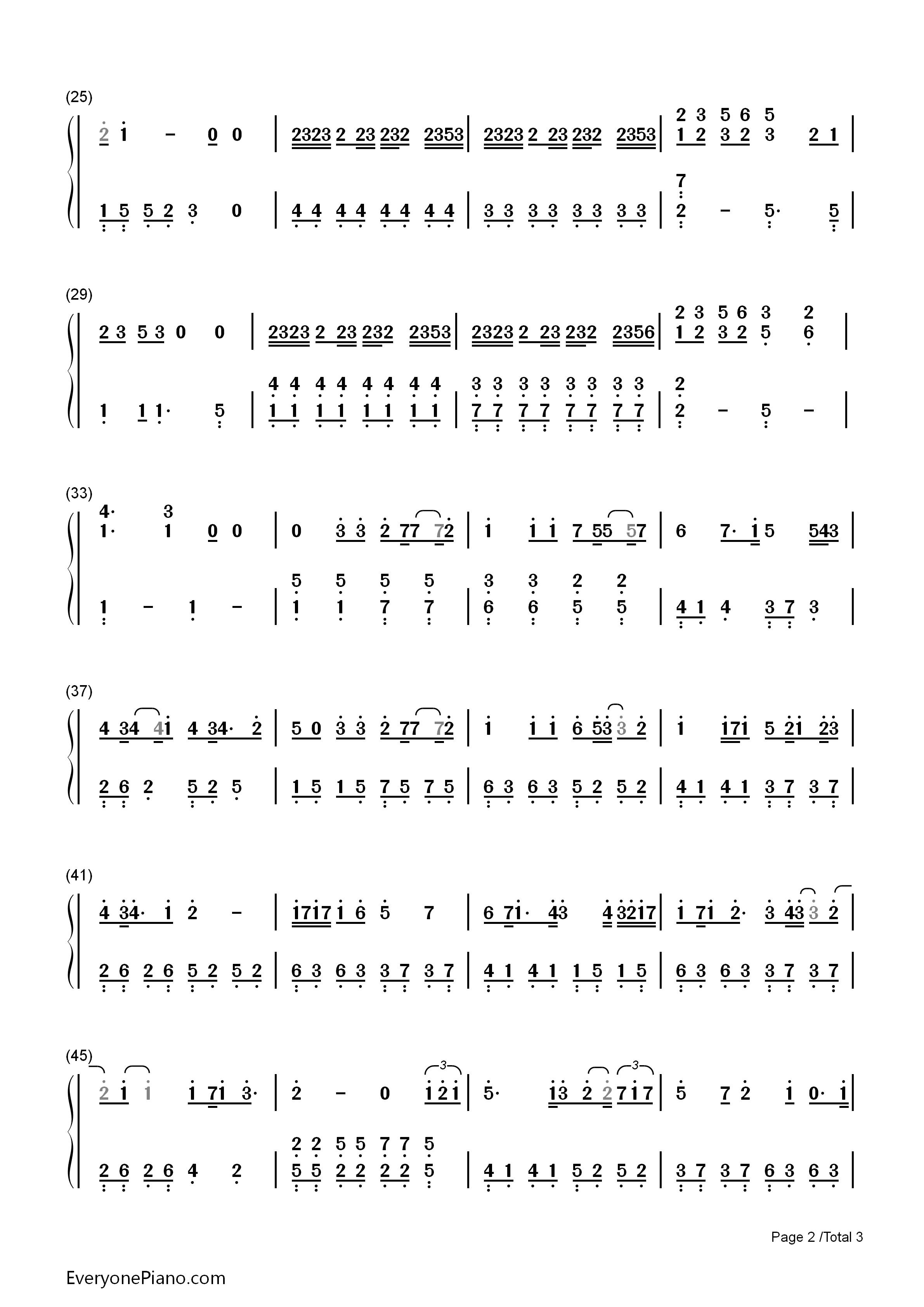 钢琴曲谱 流行 房间-刘瑞琪 房间-刘瑞琪双手简谱预览2  }  仅供学习