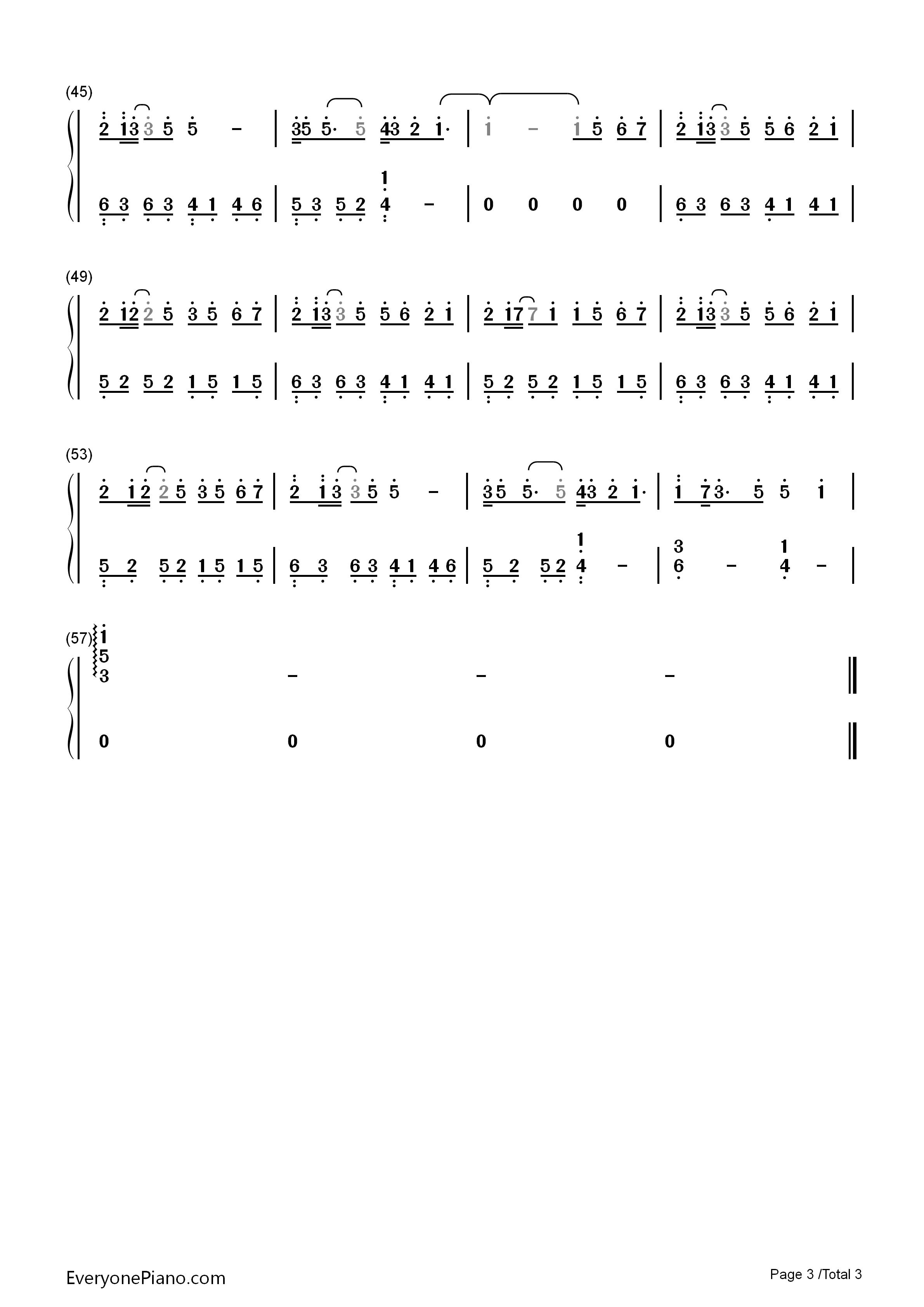 钢琴曲谱 影视 追光者-完美版 追光者-完美版双手简谱预览3  }  仅供