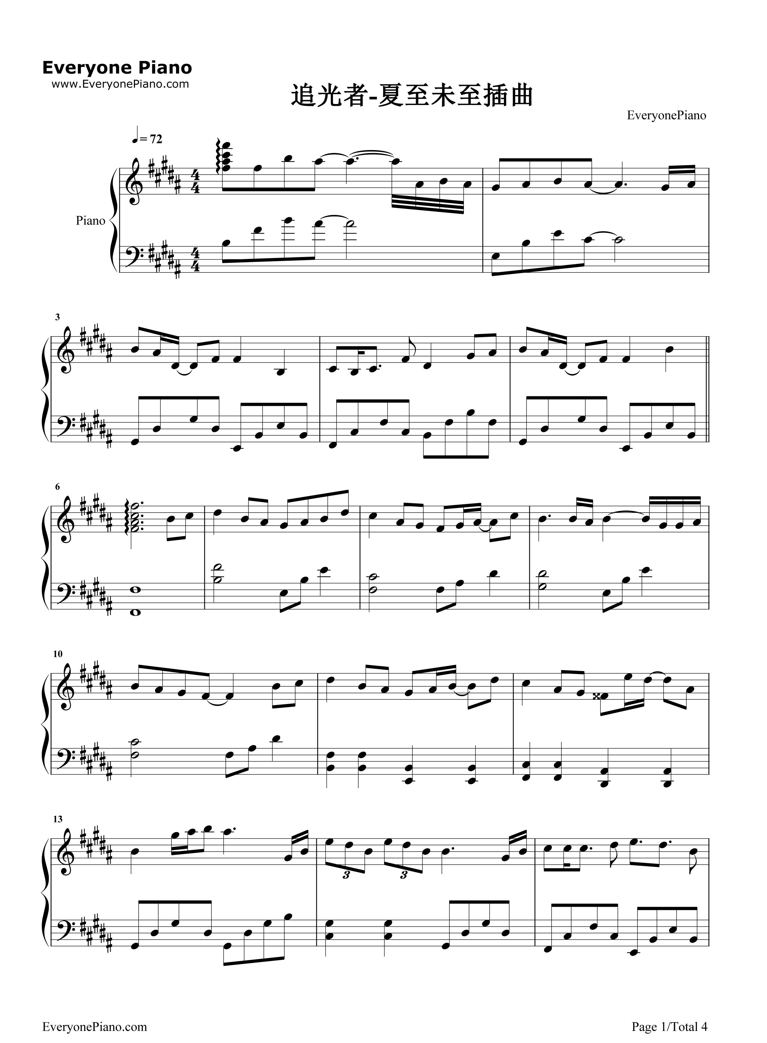 钢琴曲谱 影视 追光者-完美版 追光者-完美版五线谱预览1
