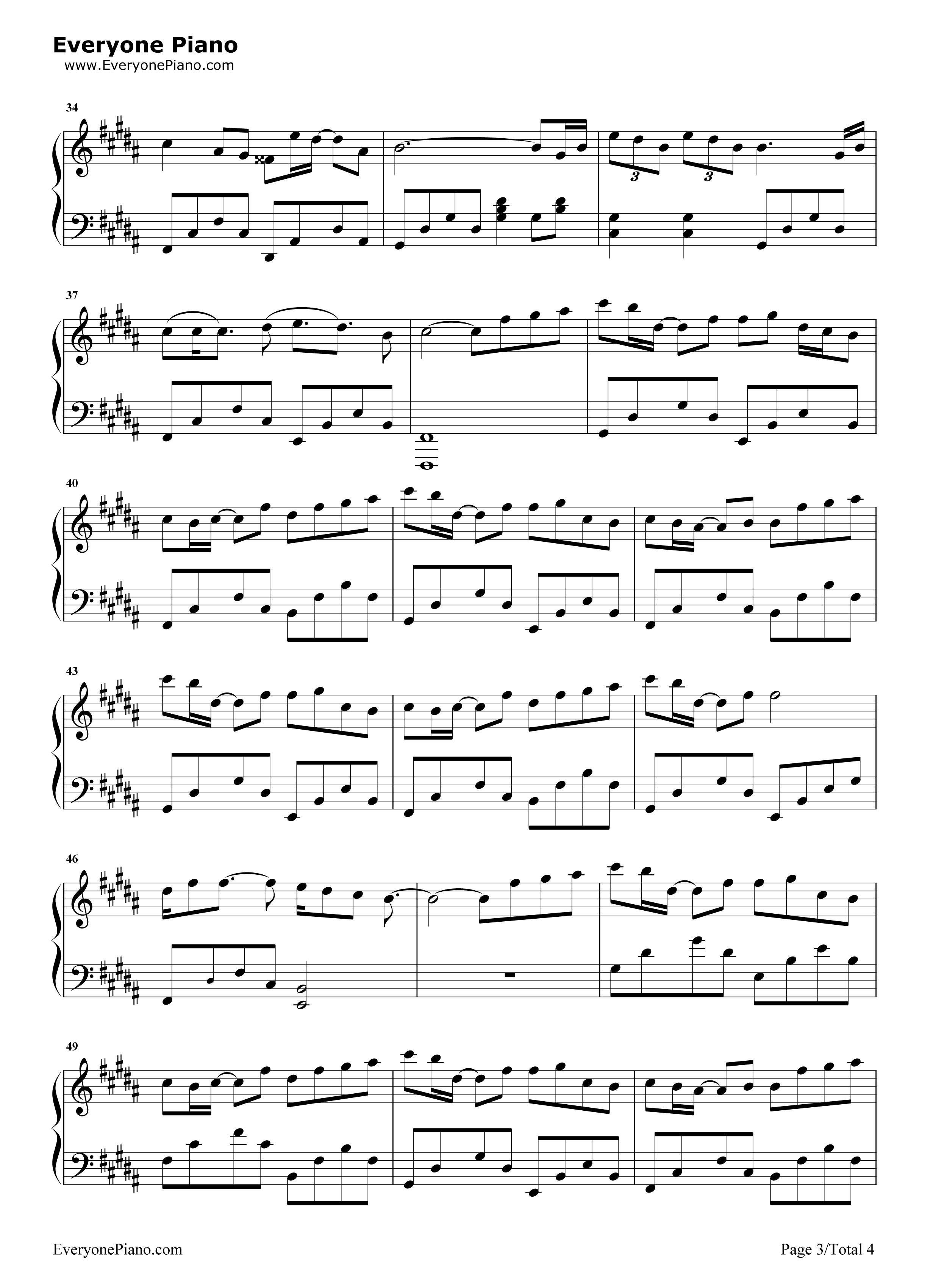钢琴曲谱 影视 追光者-完美版 追光者-完美版五线谱预览3
