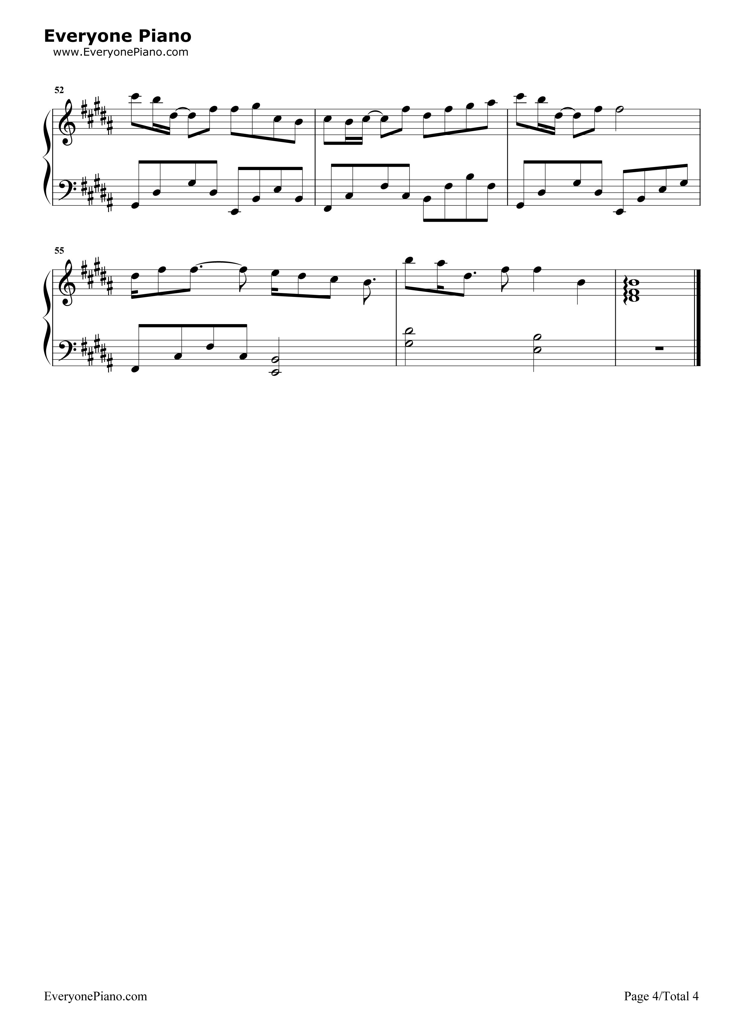 追光者-完美版五线谱预览4-钢琴谱档(五线谱,双手简谱