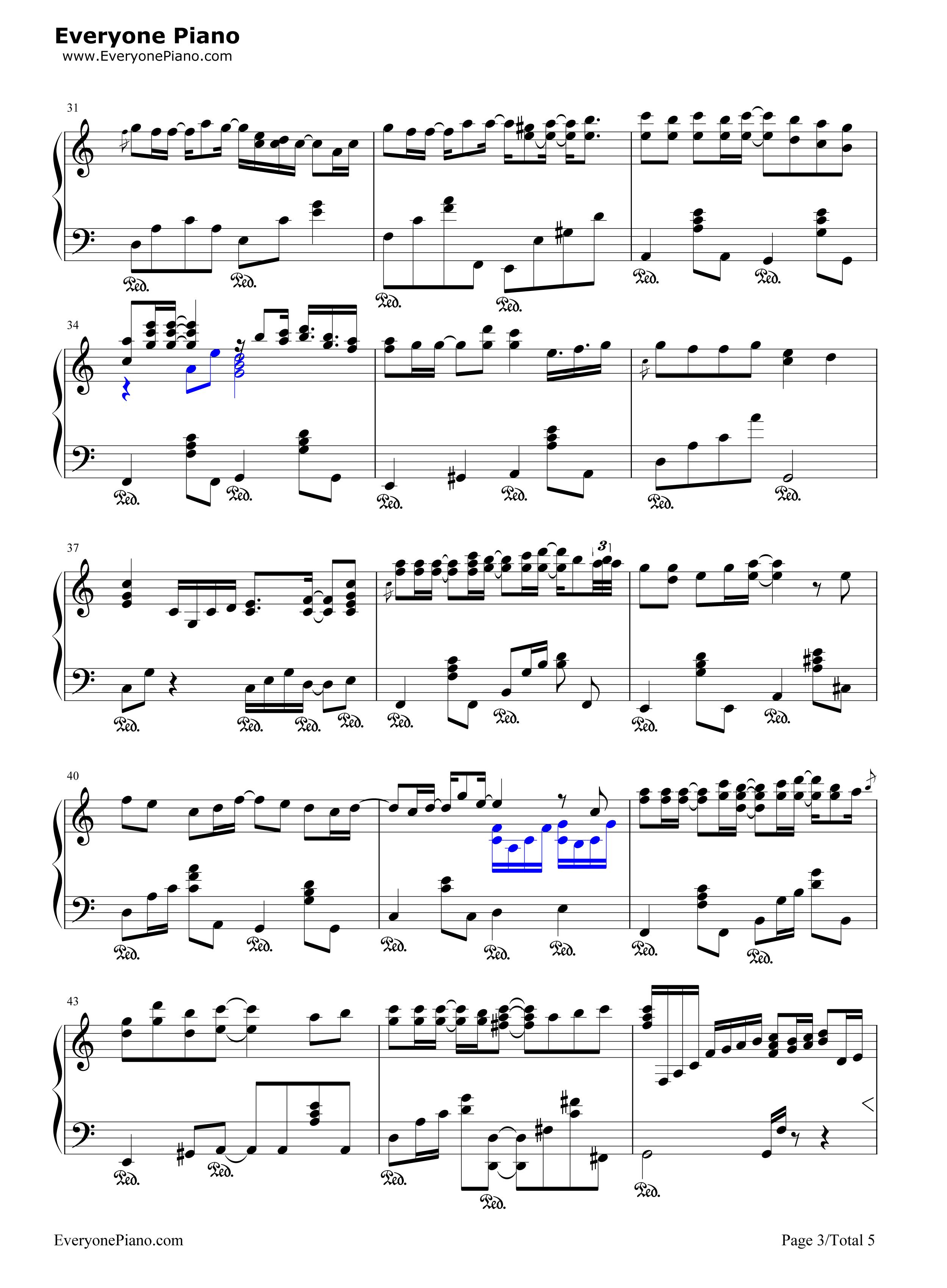飘雪-雪之花-对不起我爱你主题曲五线谱预览3