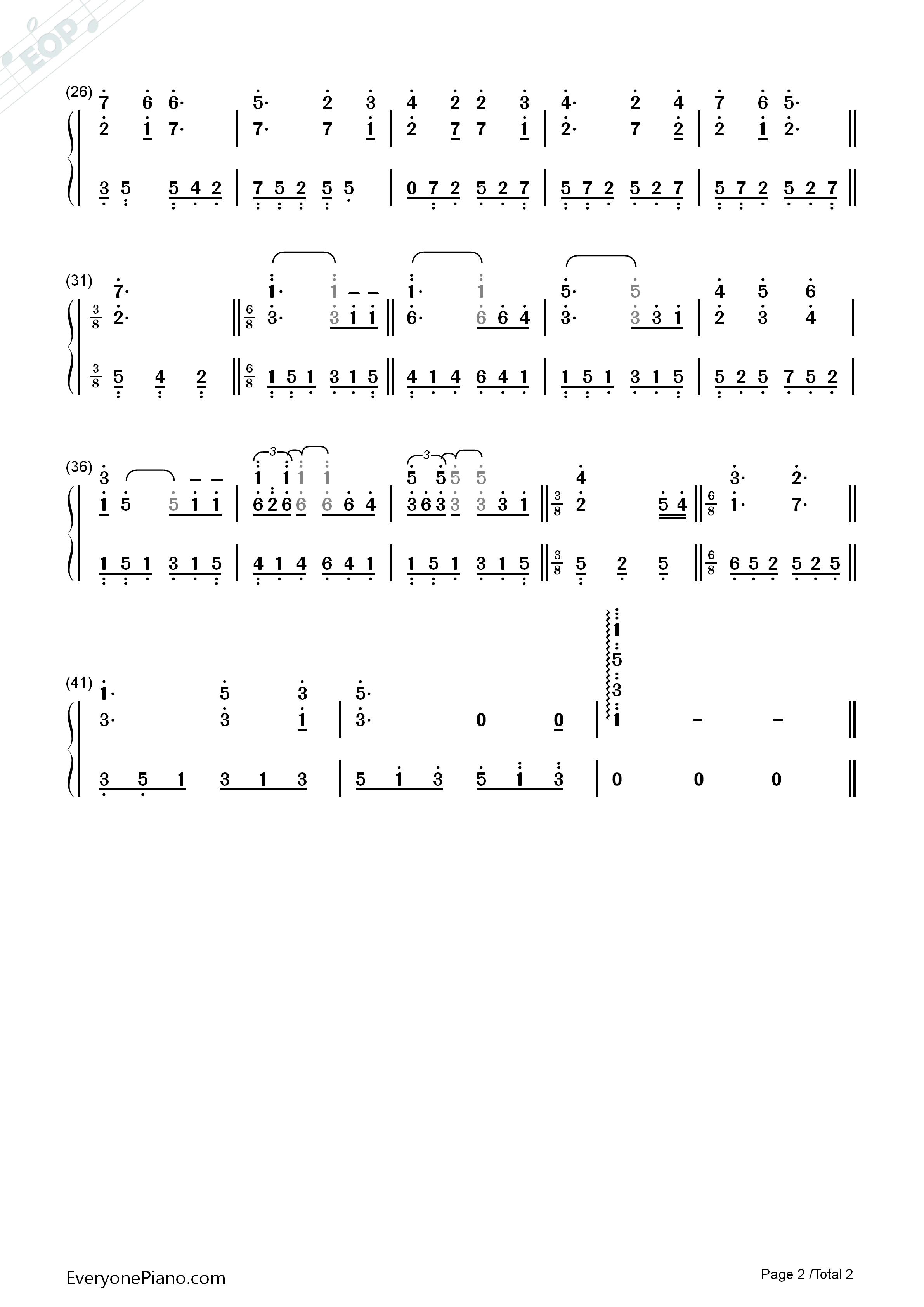 钢琴曲谱 轻音乐 布拉姆斯的摇篮曲 布拉姆斯的摇篮曲双手简谱预览2