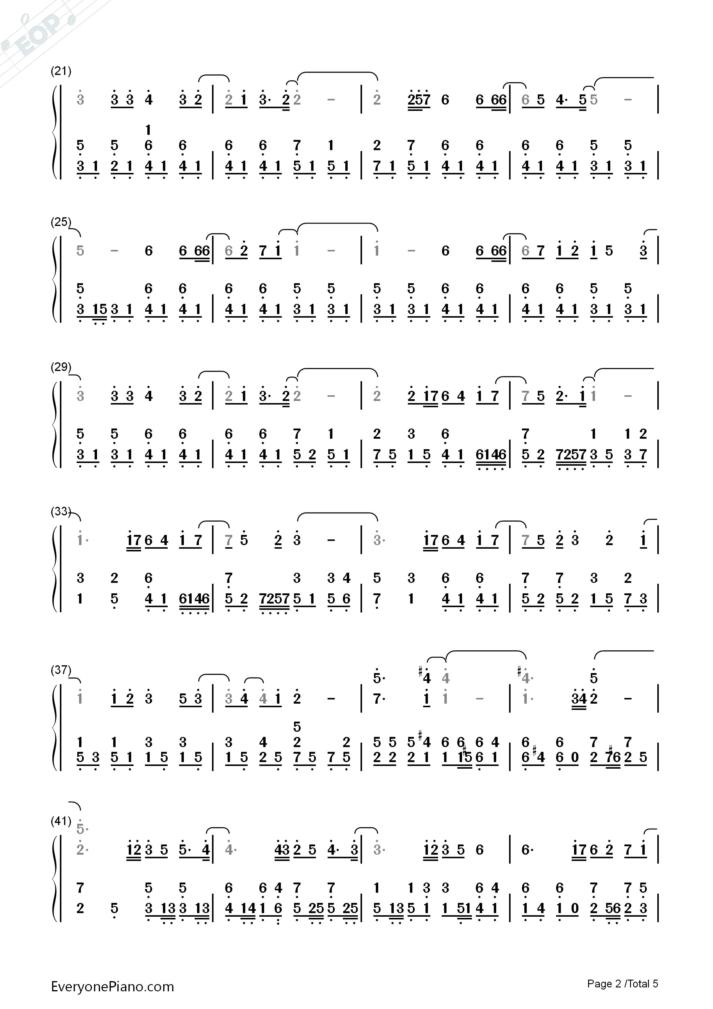 钢琴曲谱 流行 相信-苏打绿 相信-苏打绿双手简谱预览2  }  仅供学习
