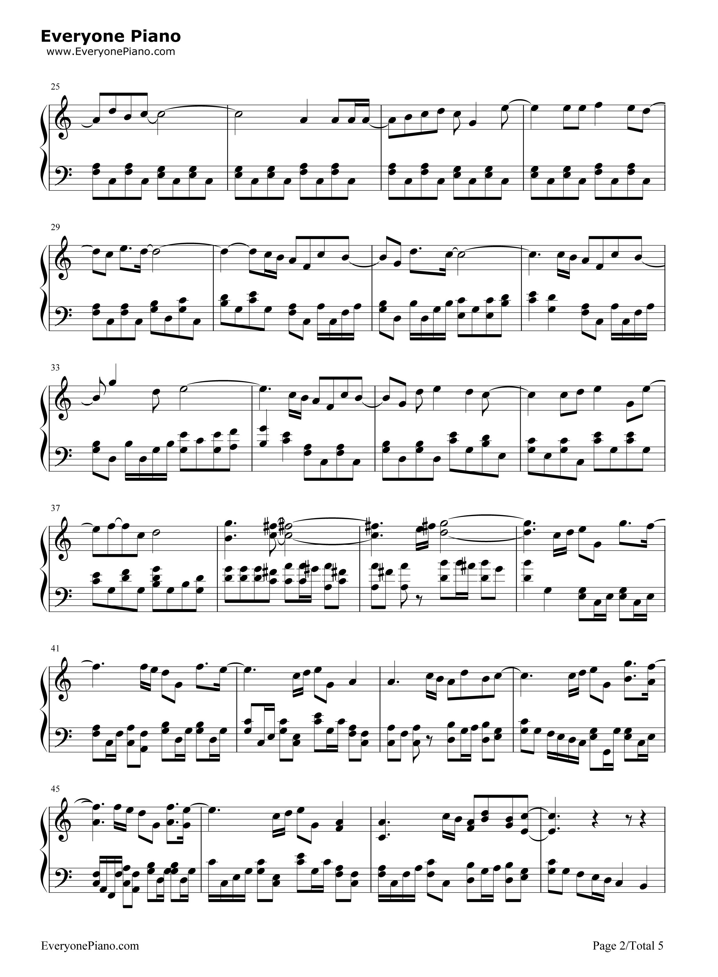 相信-苏打绿五线谱预览2-钢琴谱档(五线谱,双手简谱