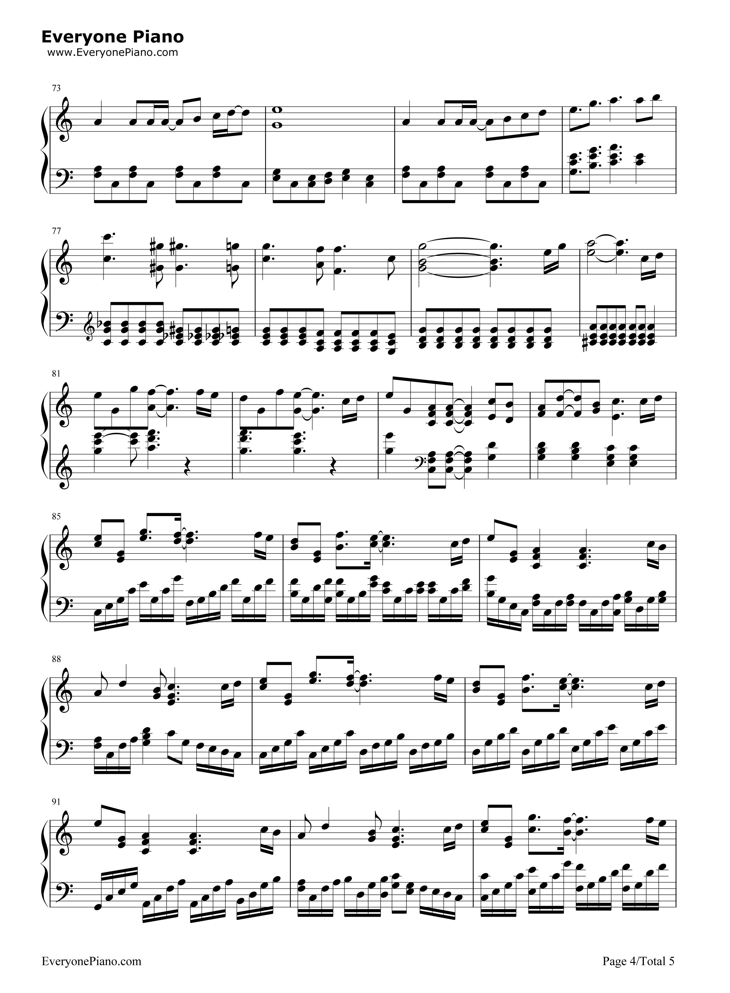 相信-苏打绿五线谱预览4-钢琴谱档(五线谱,双手简谱
