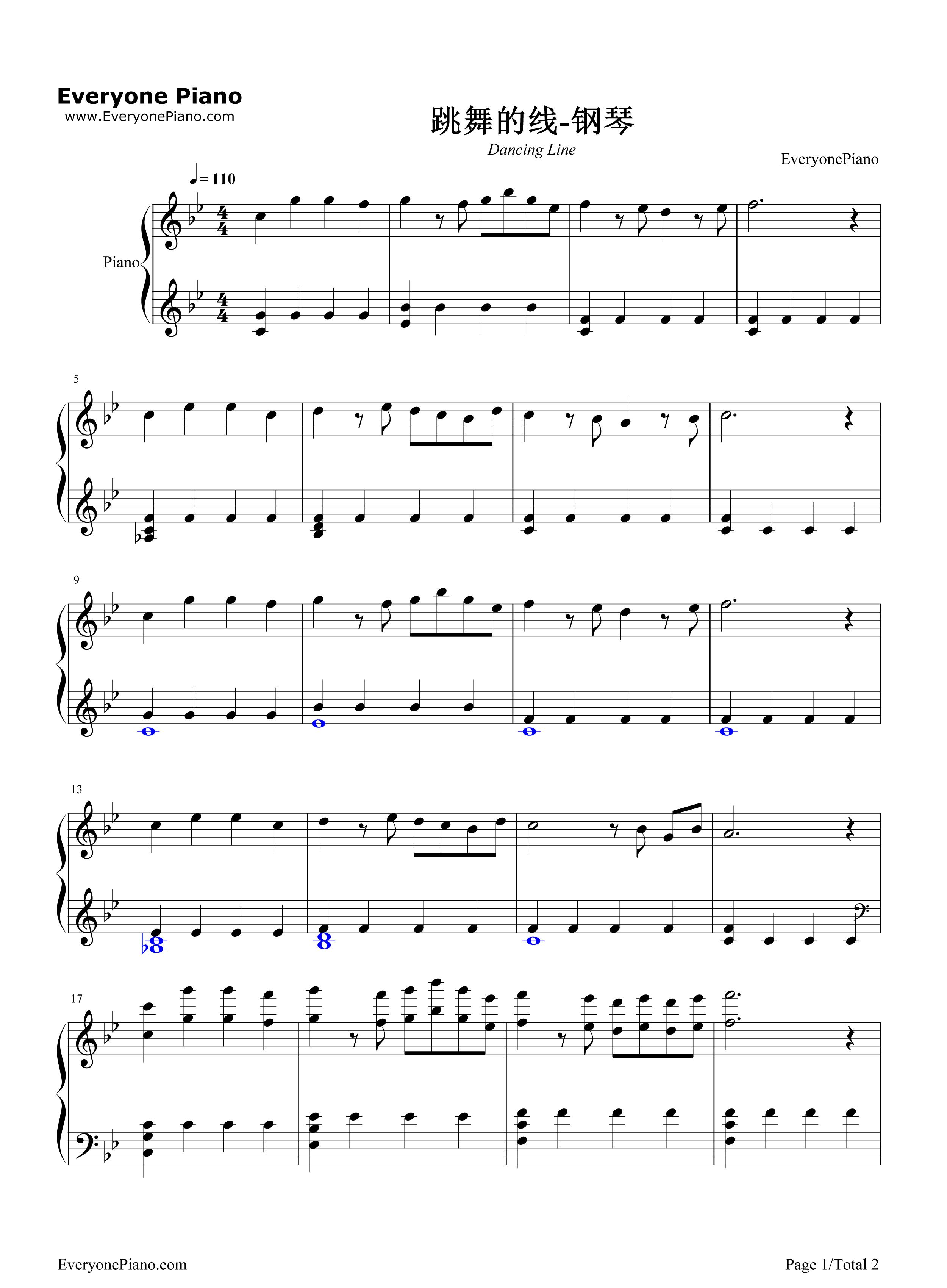 跳舞的线五线谱预览1-钢琴谱档(五线谱,双手简谱,数位