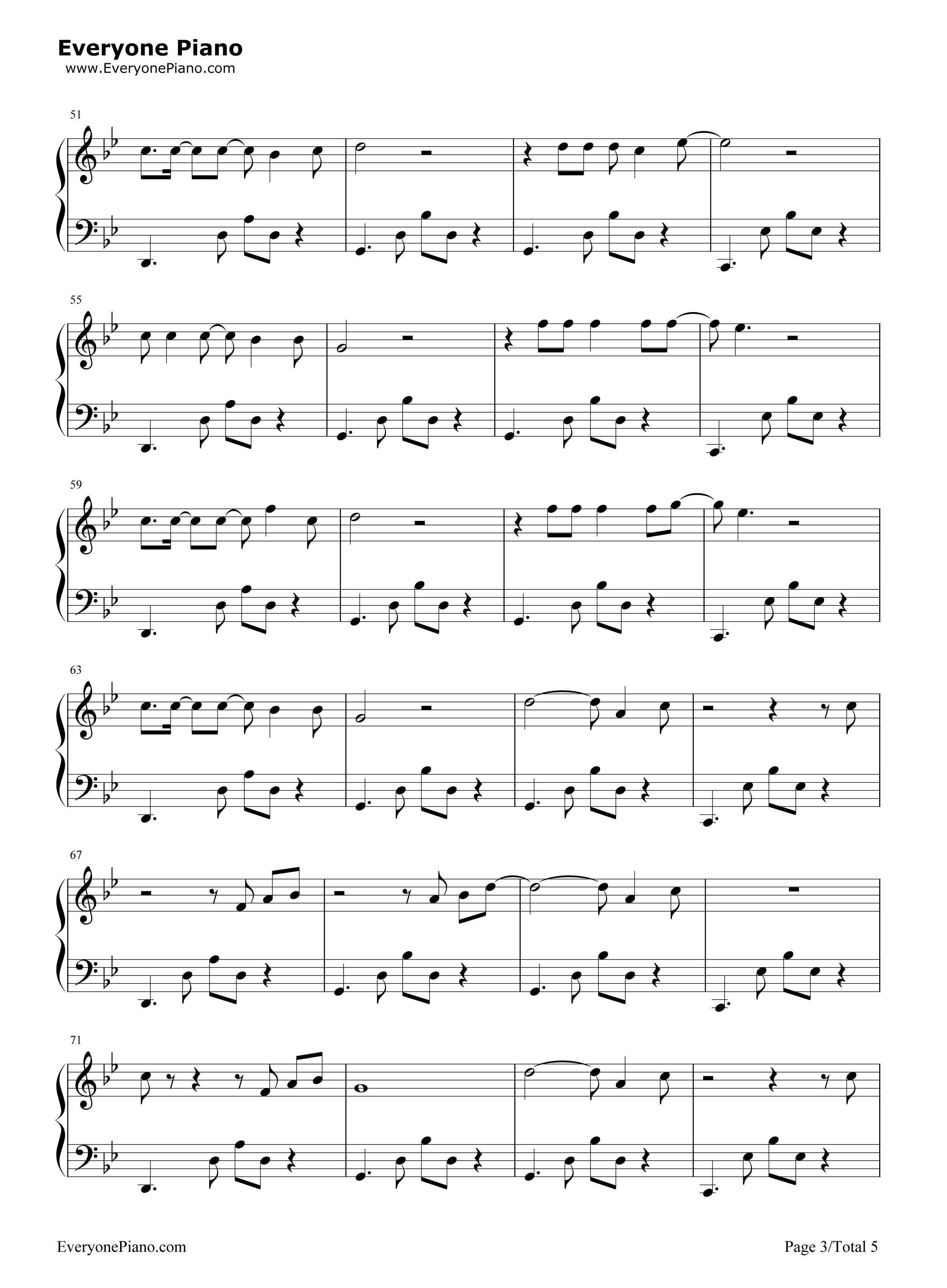 渡-薛之谦五线谱预览3-钢琴谱档(五线谱,双手简谱,数