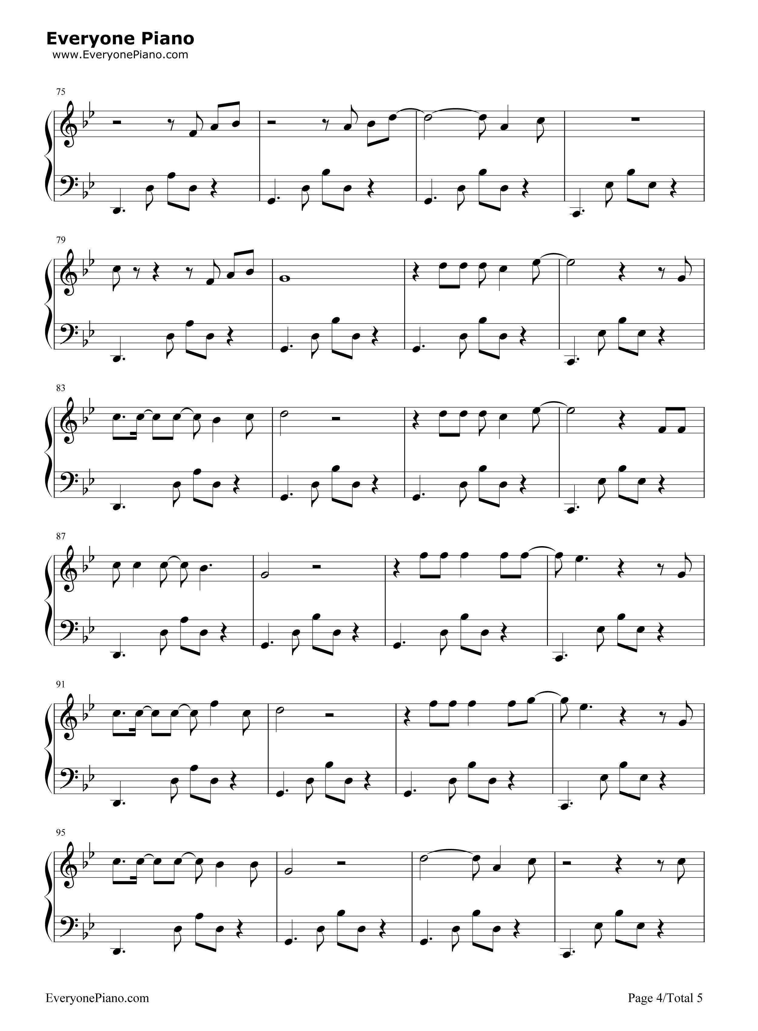 渡-薛之谦五线谱预览4-钢琴谱档(五线谱,双手简谱,数