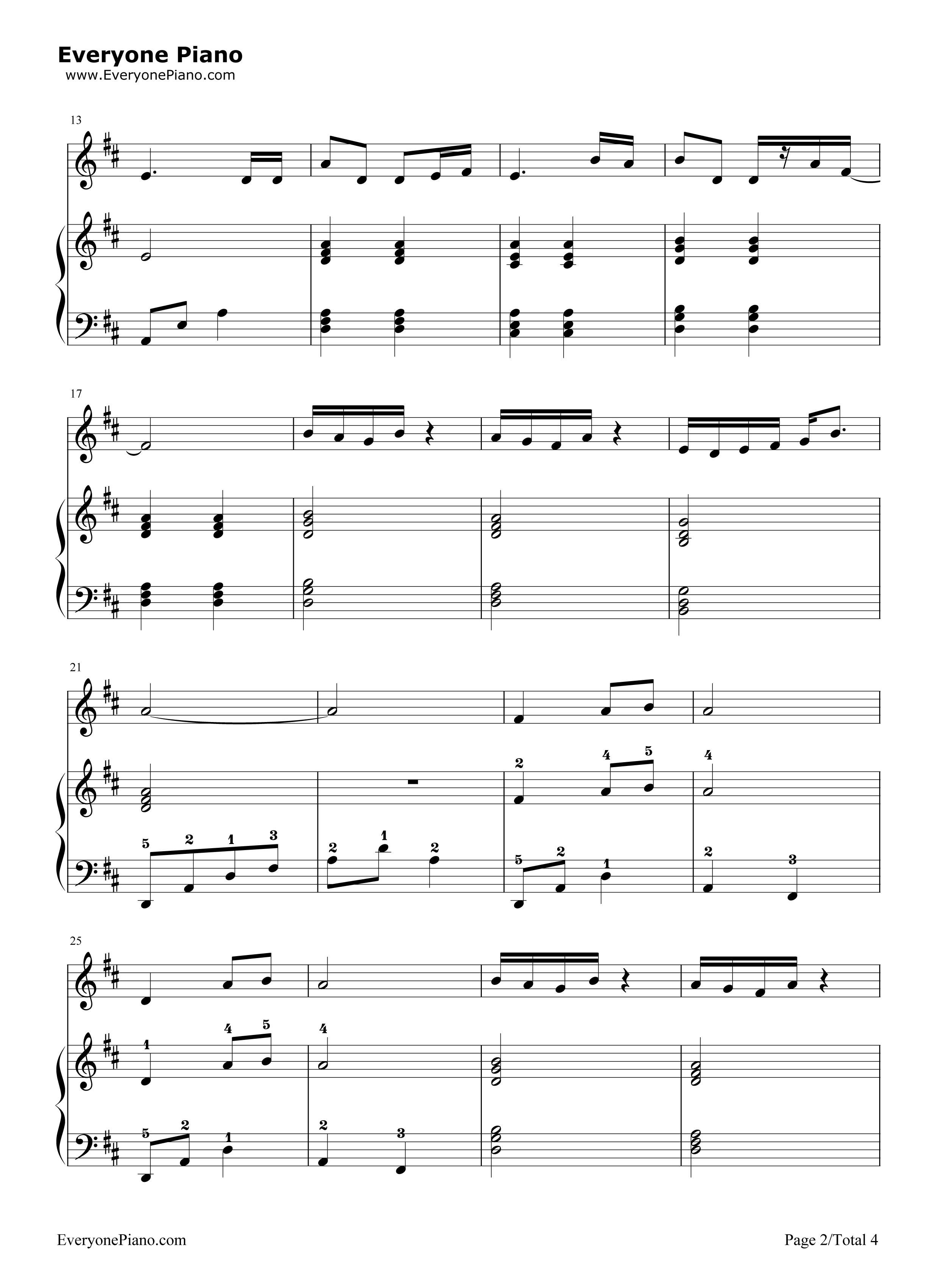 钢琴曲谱 儿歌 金色童年-杨烁 金色童年-杨烁五线谱预览2
