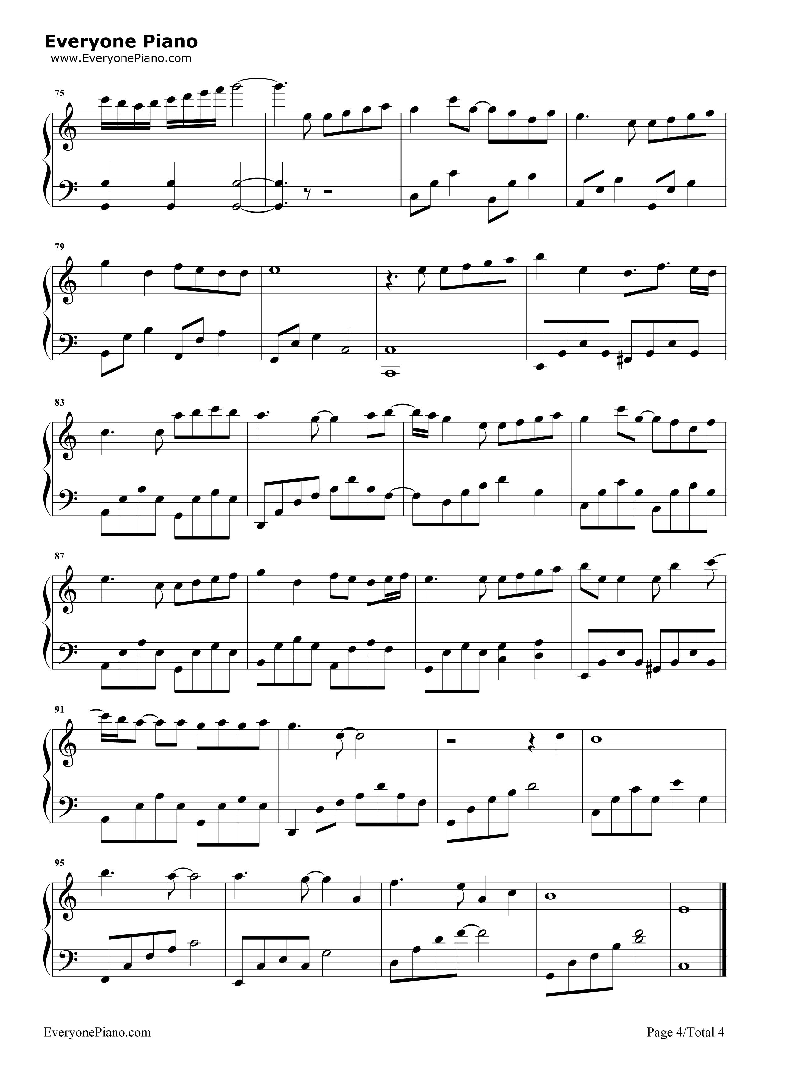成全-林宥嘉五线谱预览4-钢琴谱档(五线谱,双手简谱