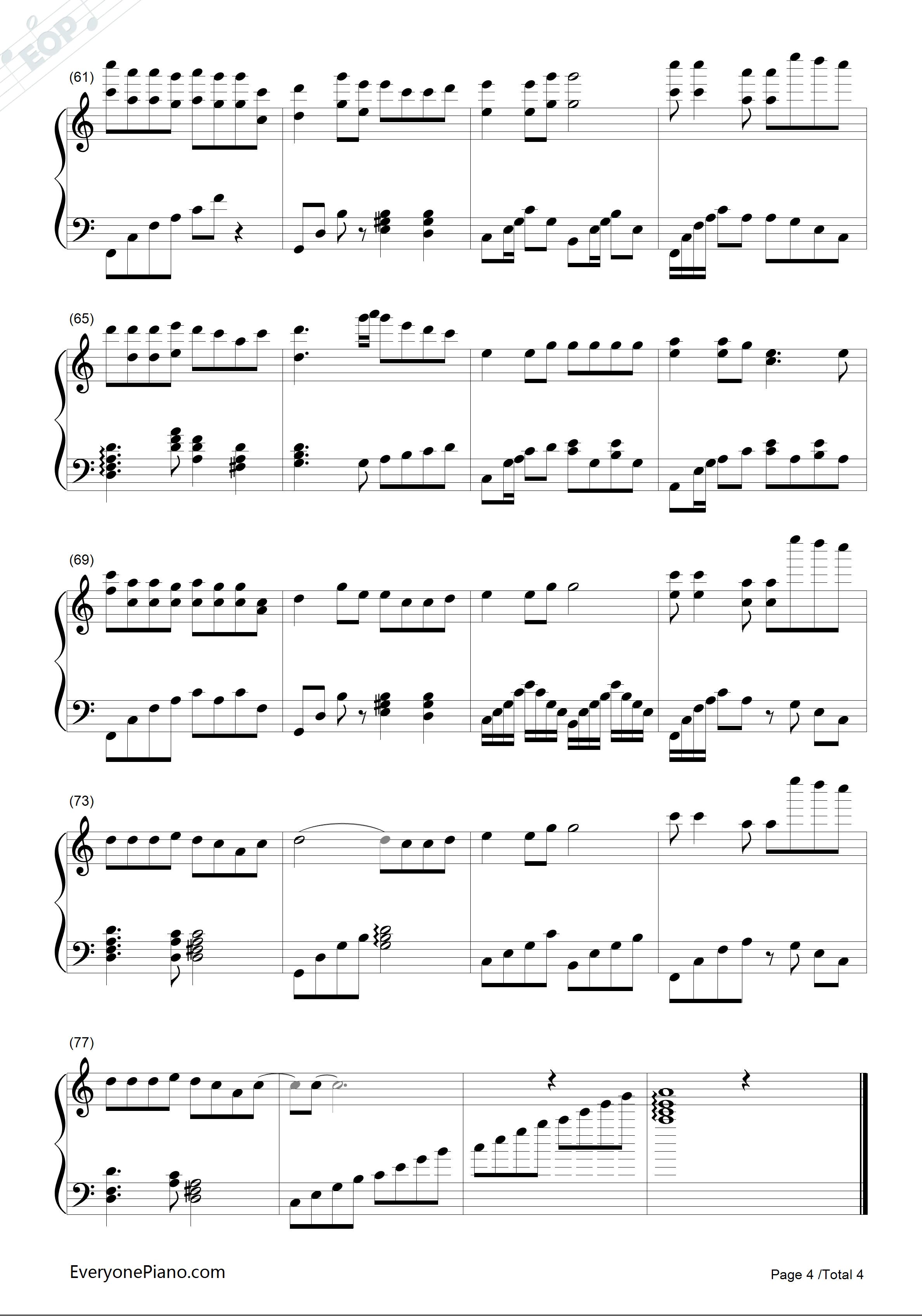 白狐-完美版五线谱预览4-钢琴谱档(五线谱,双手简谱