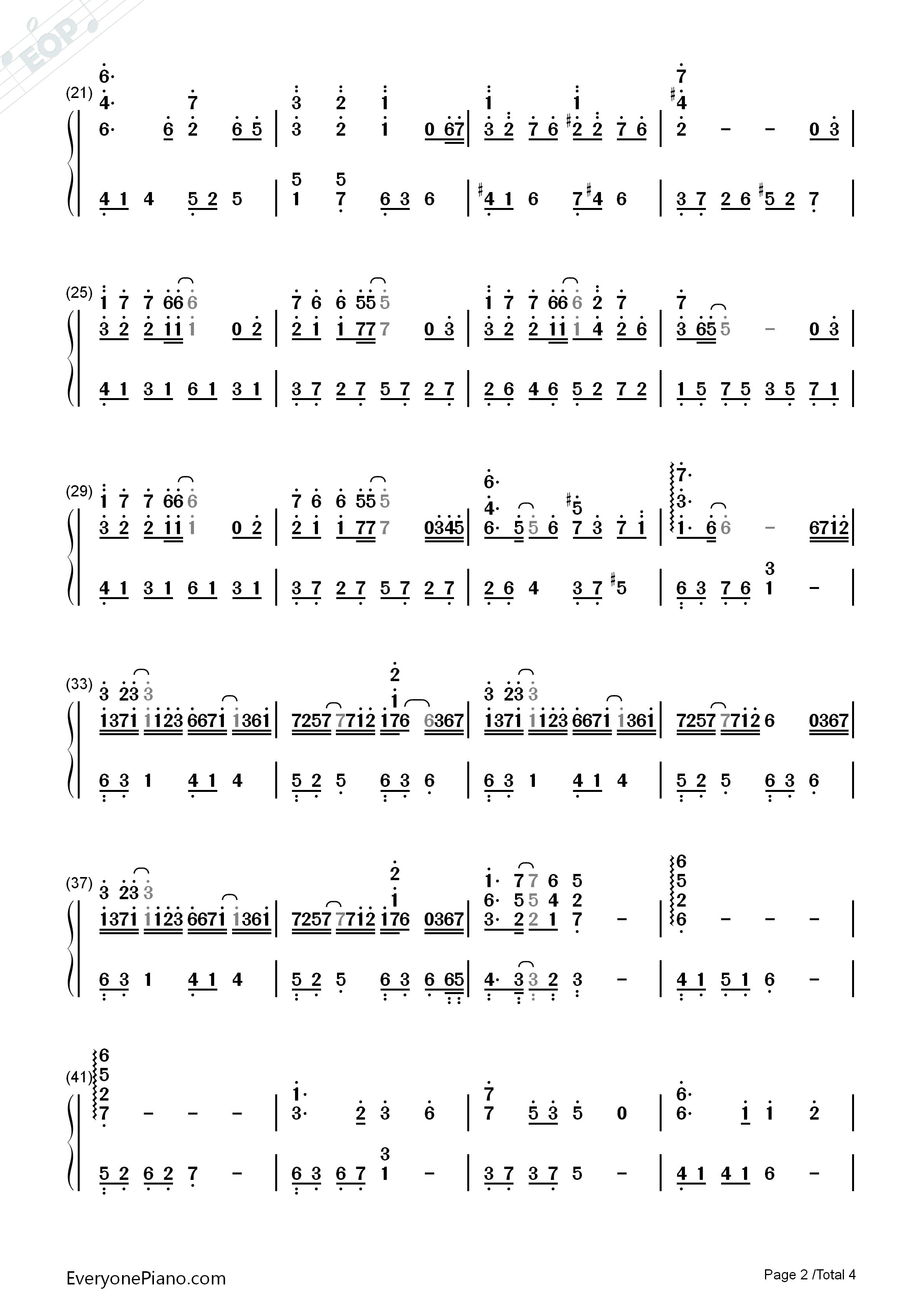 钢琴曲谱 轻音乐 手纸-西村由纪江 手纸-西村由纪江双手简谱预览2  }