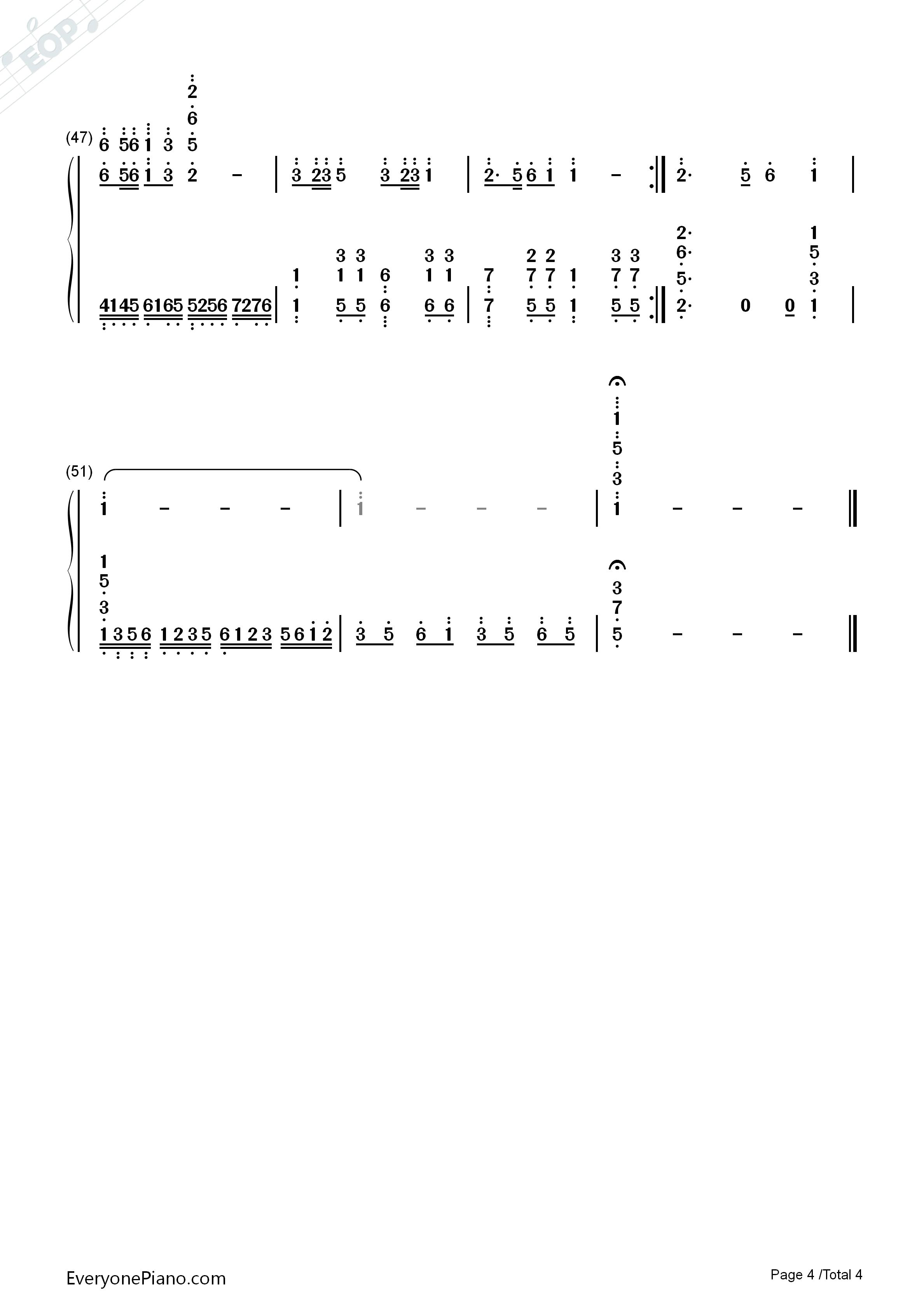钢琴曲谱 儿歌 游子吟-谷建芬 游子吟-谷建芬双手简谱预览4