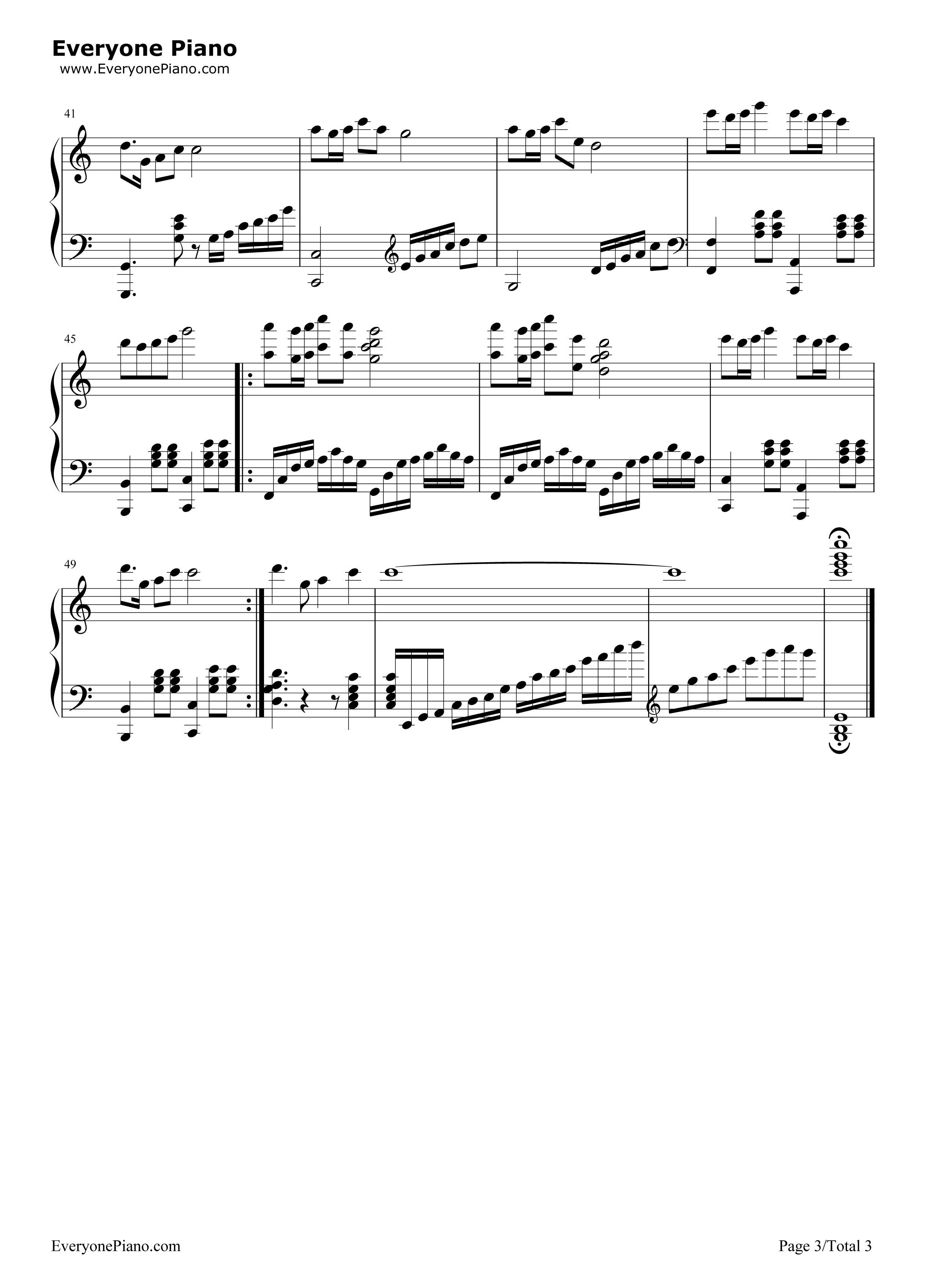钢琴曲谱 儿歌 游子吟-谷建芬 游子吟-谷建芬五线谱预览3