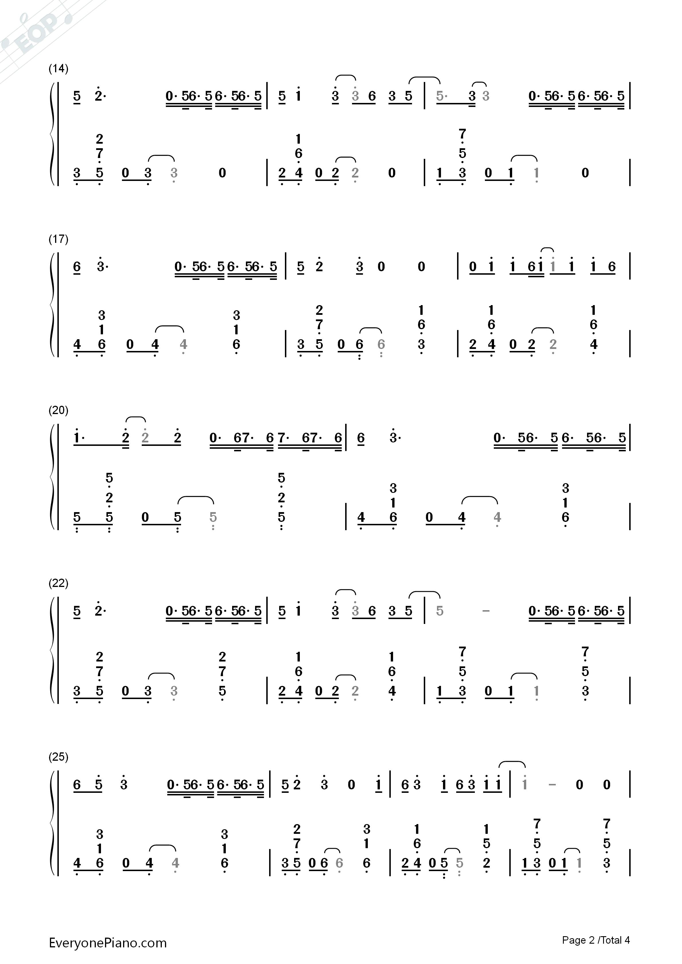 钢琴曲谱 流行 空空如也-胡66 空空如也-胡66双手简谱预览2