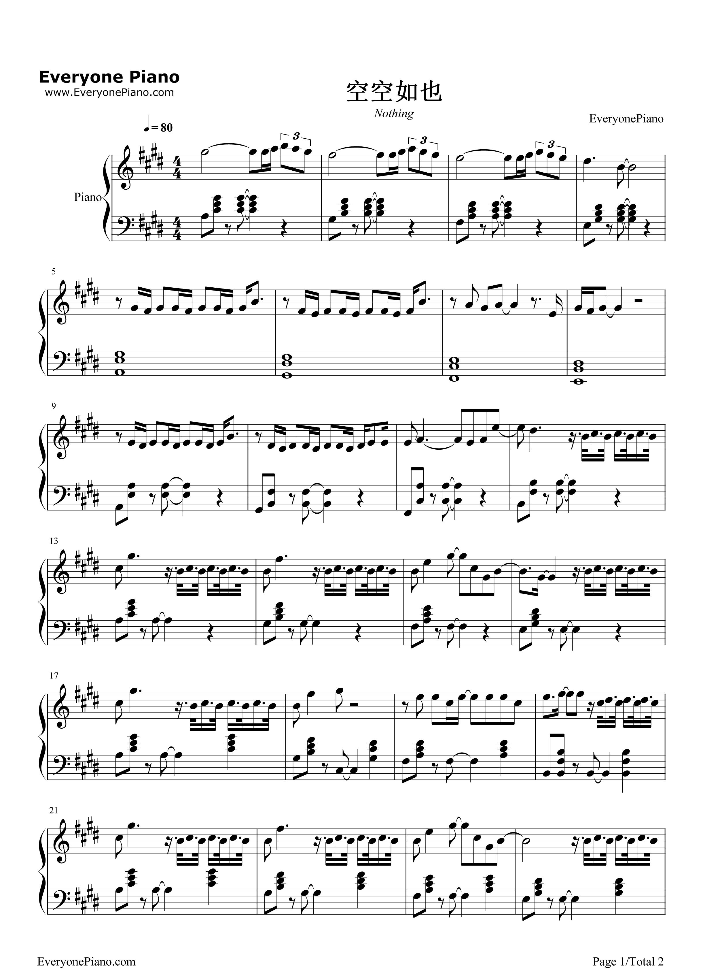 钢琴曲谱 流行 空空如也-胡66 空空如也-胡66五线谱预览1