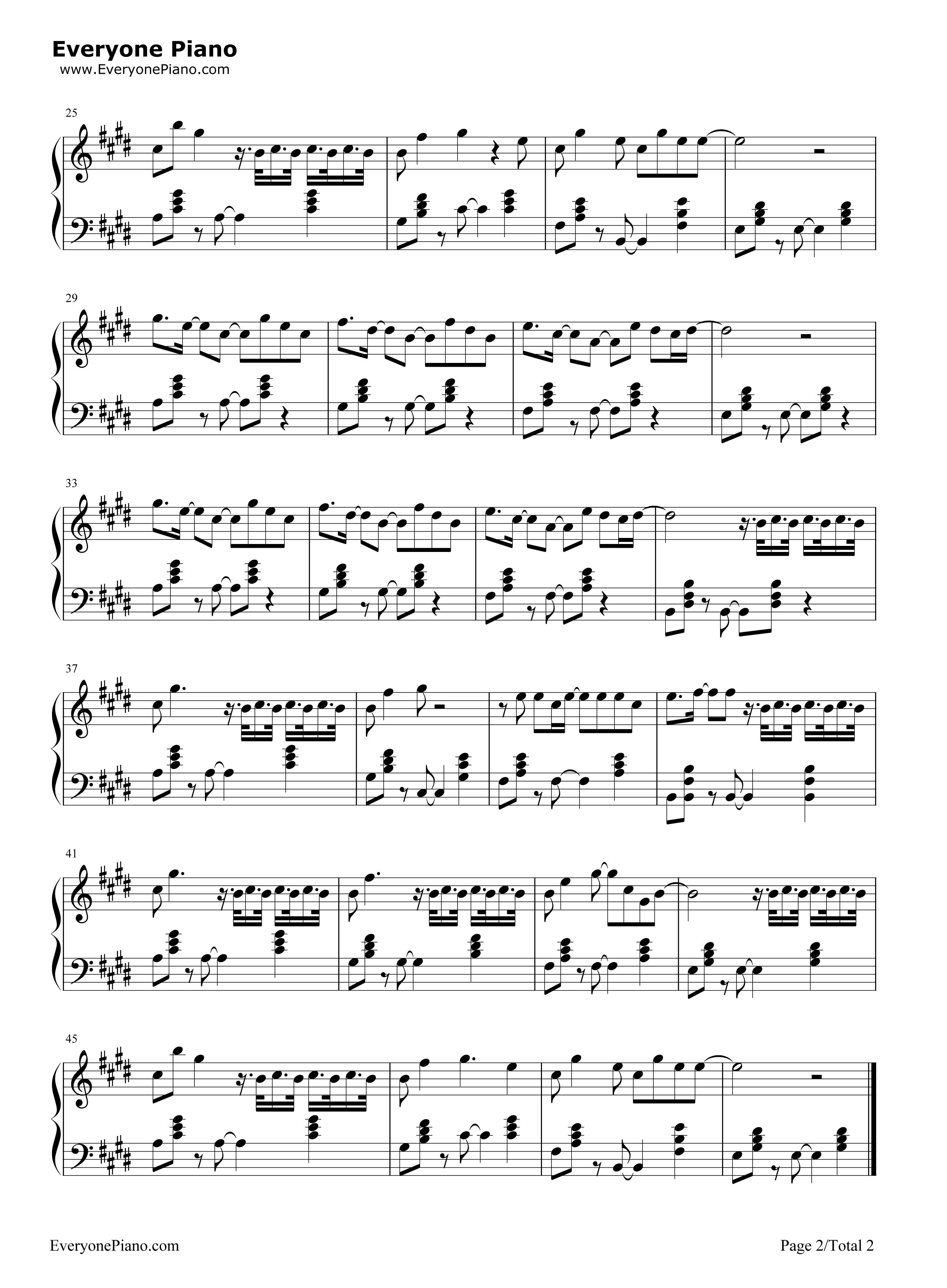 钢琴曲谱 流行 空空如也-胡66 空空如也-胡66五线谱预览2  }  仅供