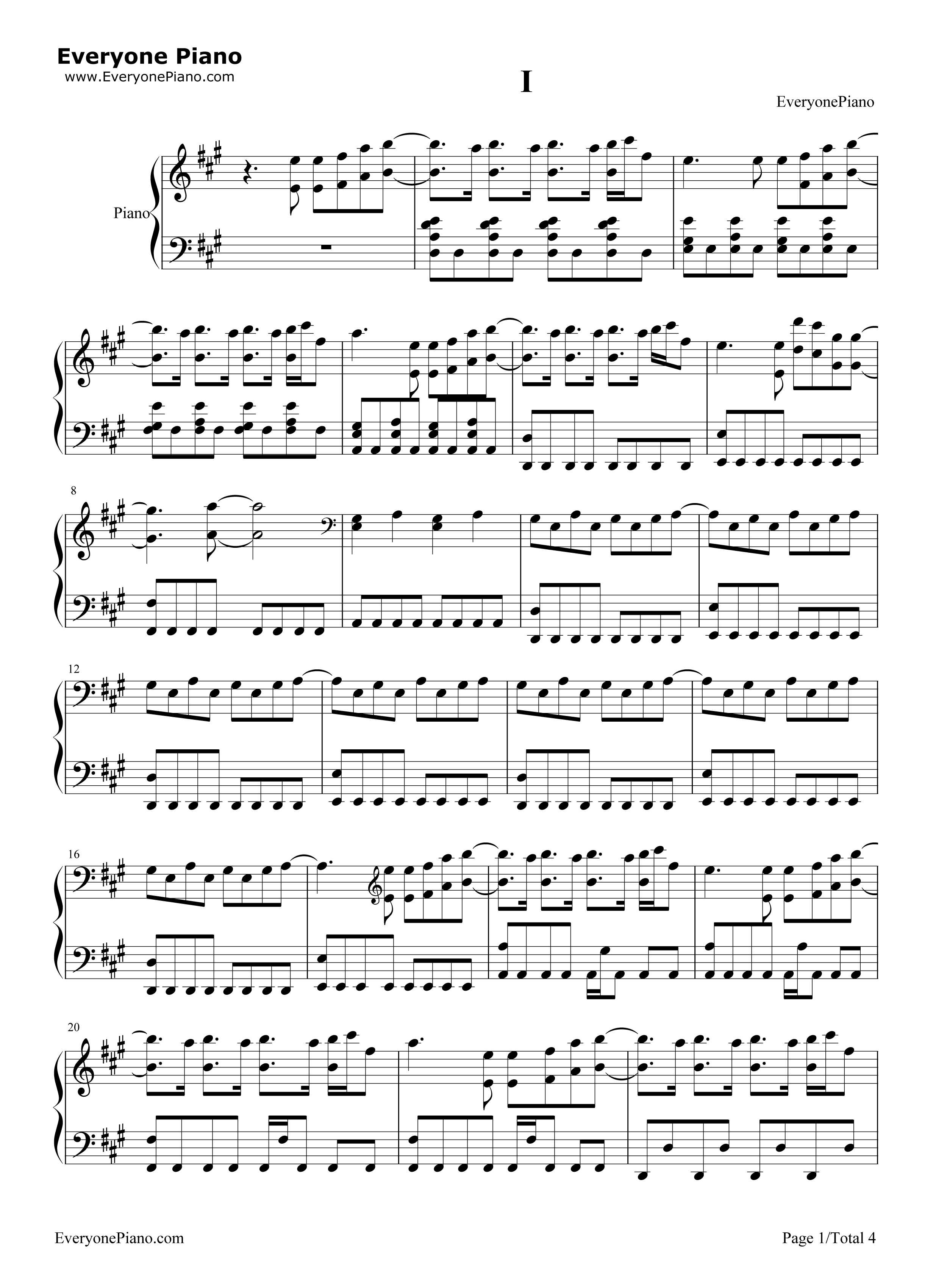 i-金泰妍五线谱预览1-钢琴谱档(五线谱,双手简谱,数位