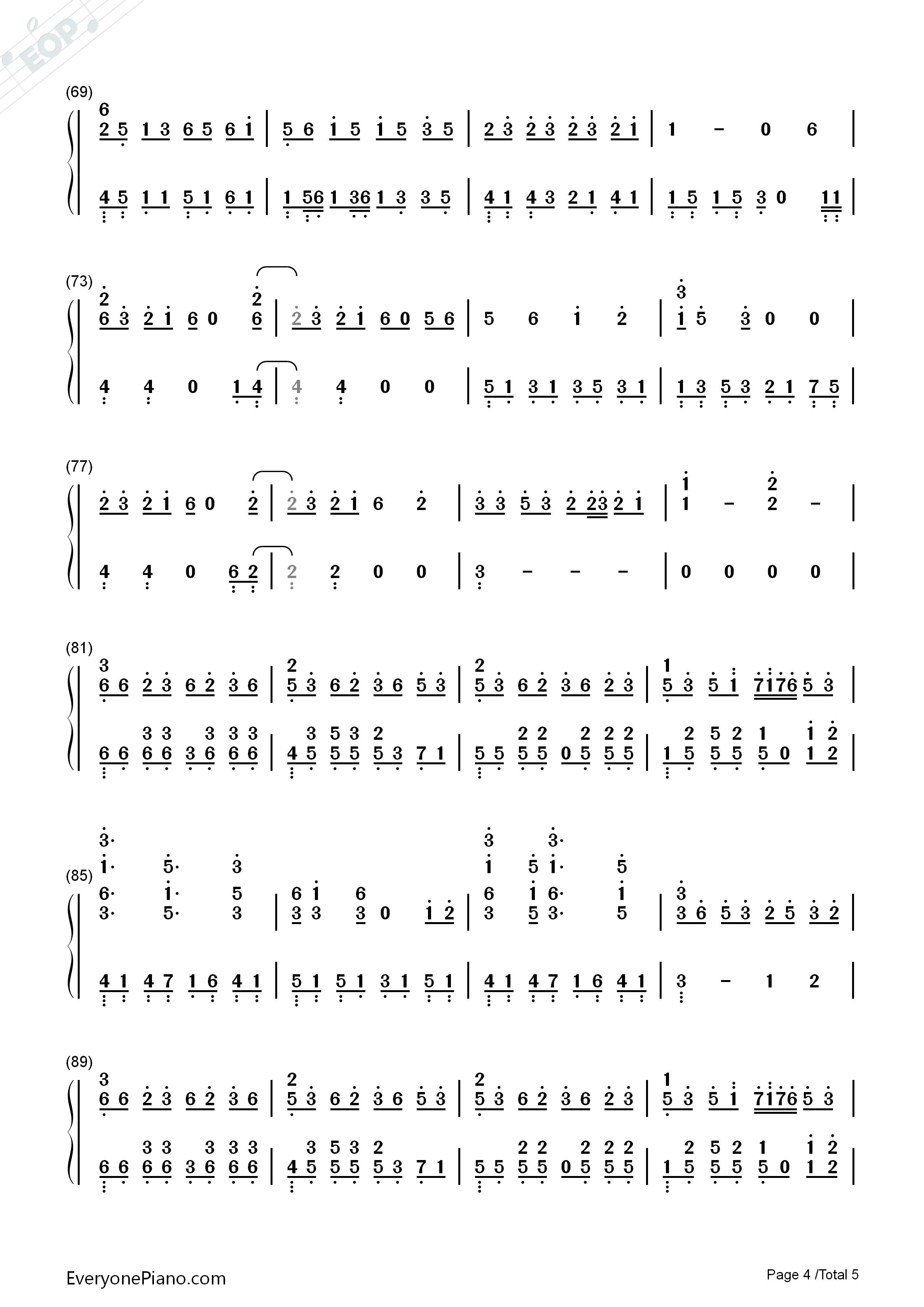 霜雪千年-洛天依和乐正绫双手简谱预览4-钢琴谱档