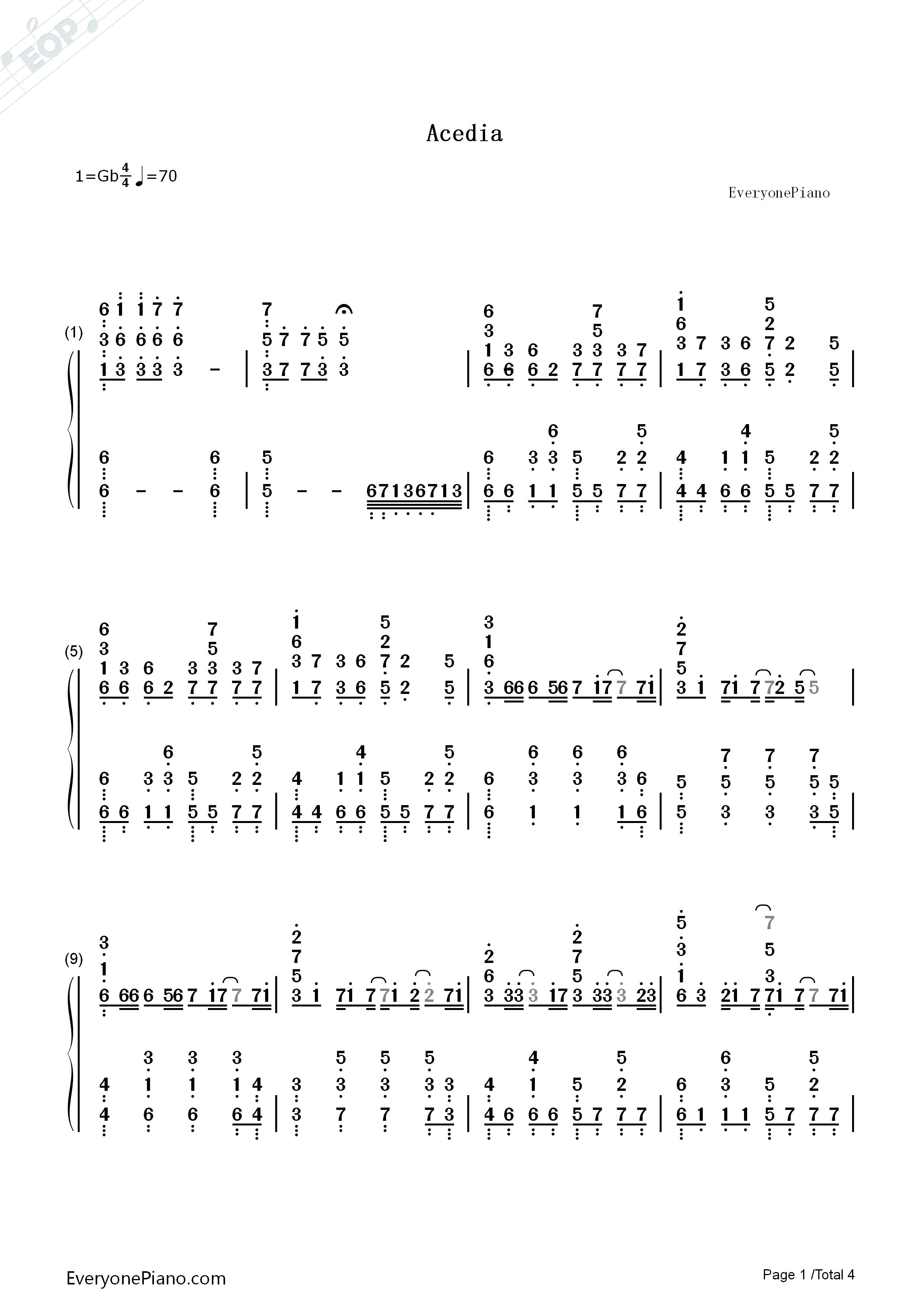 钢琴曲谱 流行 acedia-初音未来 acedia-初音未来双手简谱预览1