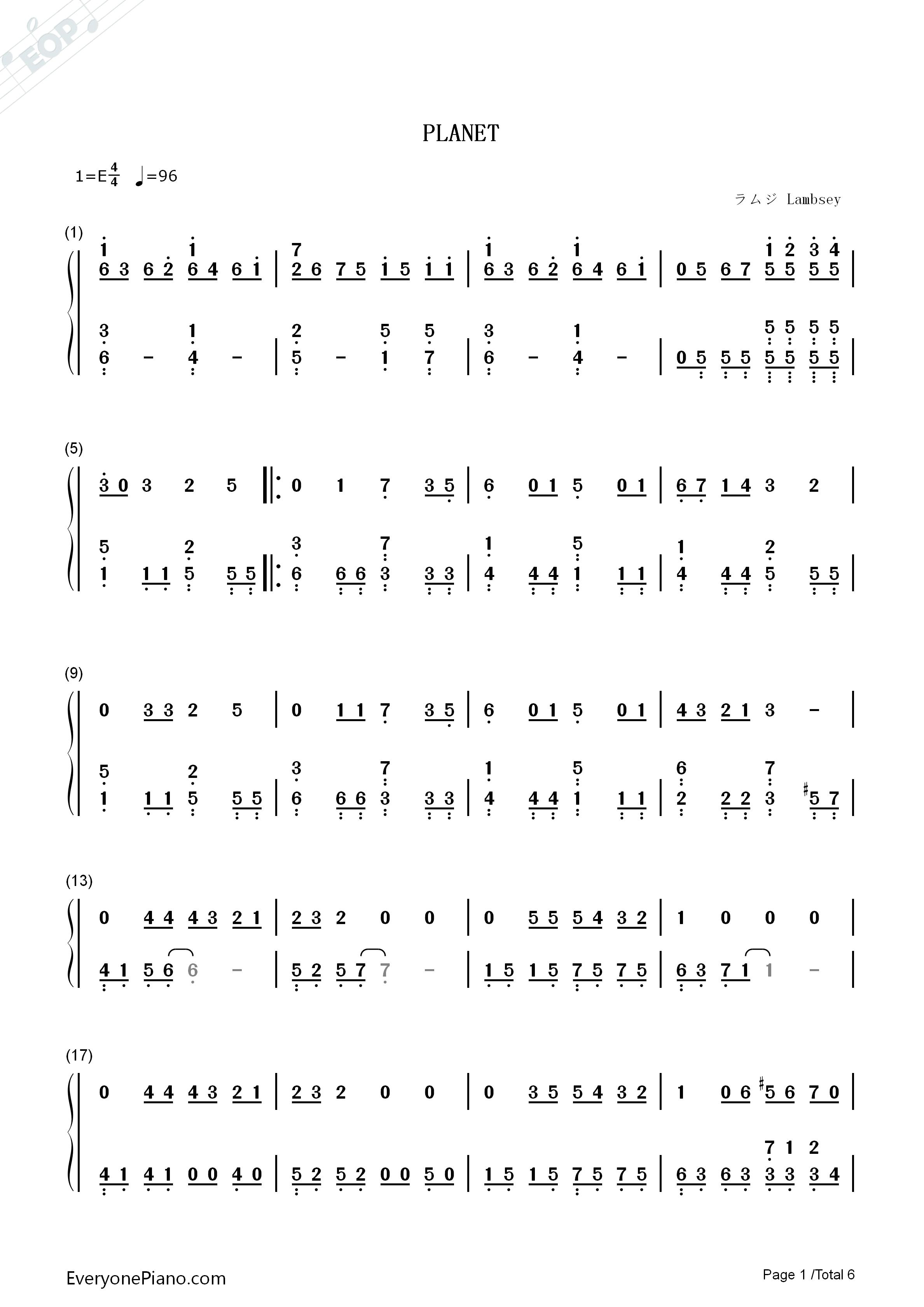 钢琴曲谱 流行 planet-ラムジ planet-ラムジ双手简谱预览1