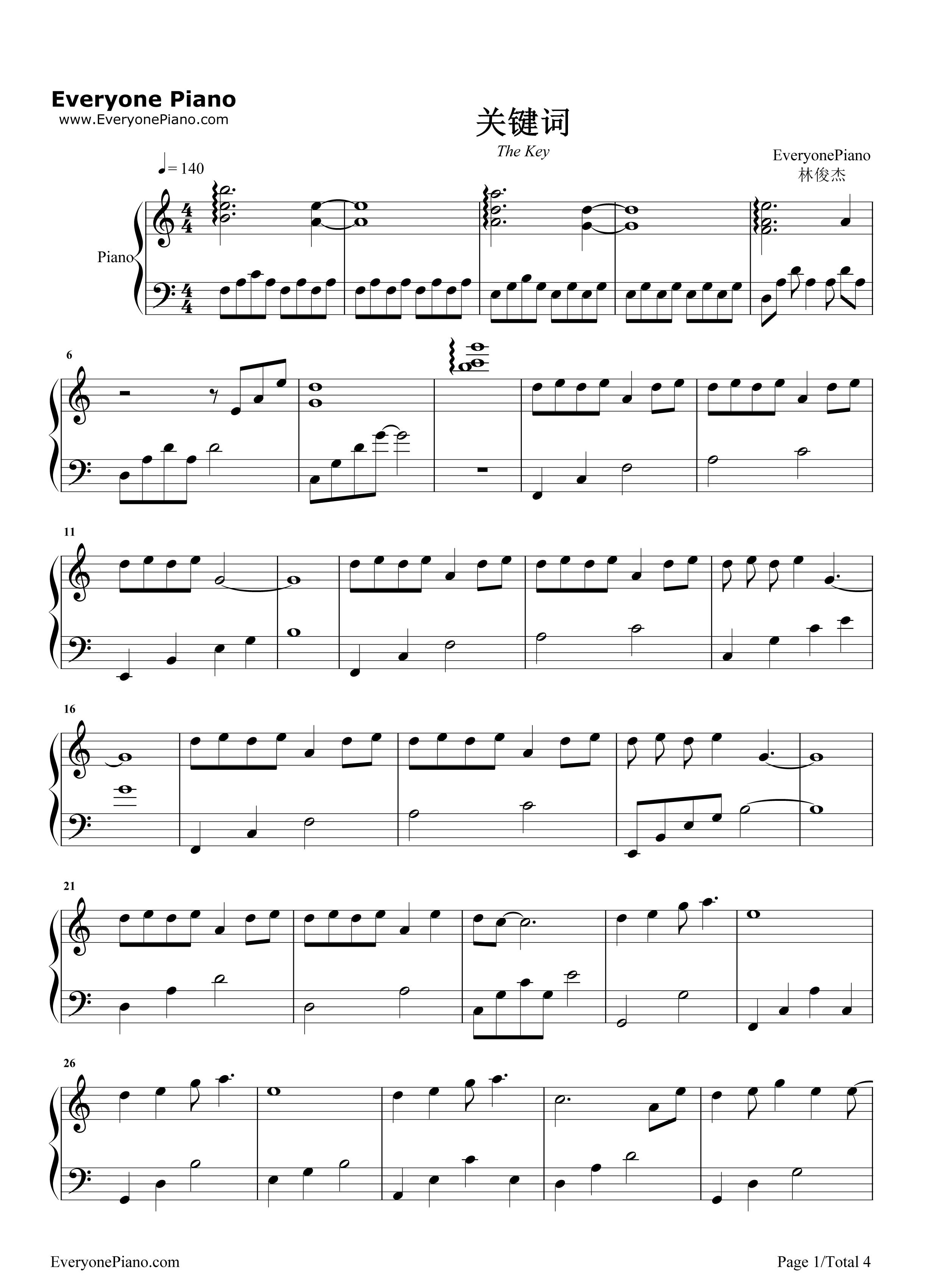钢琴曲谱 流行 关键词-林俊杰 关键词-林俊杰五线谱预览1