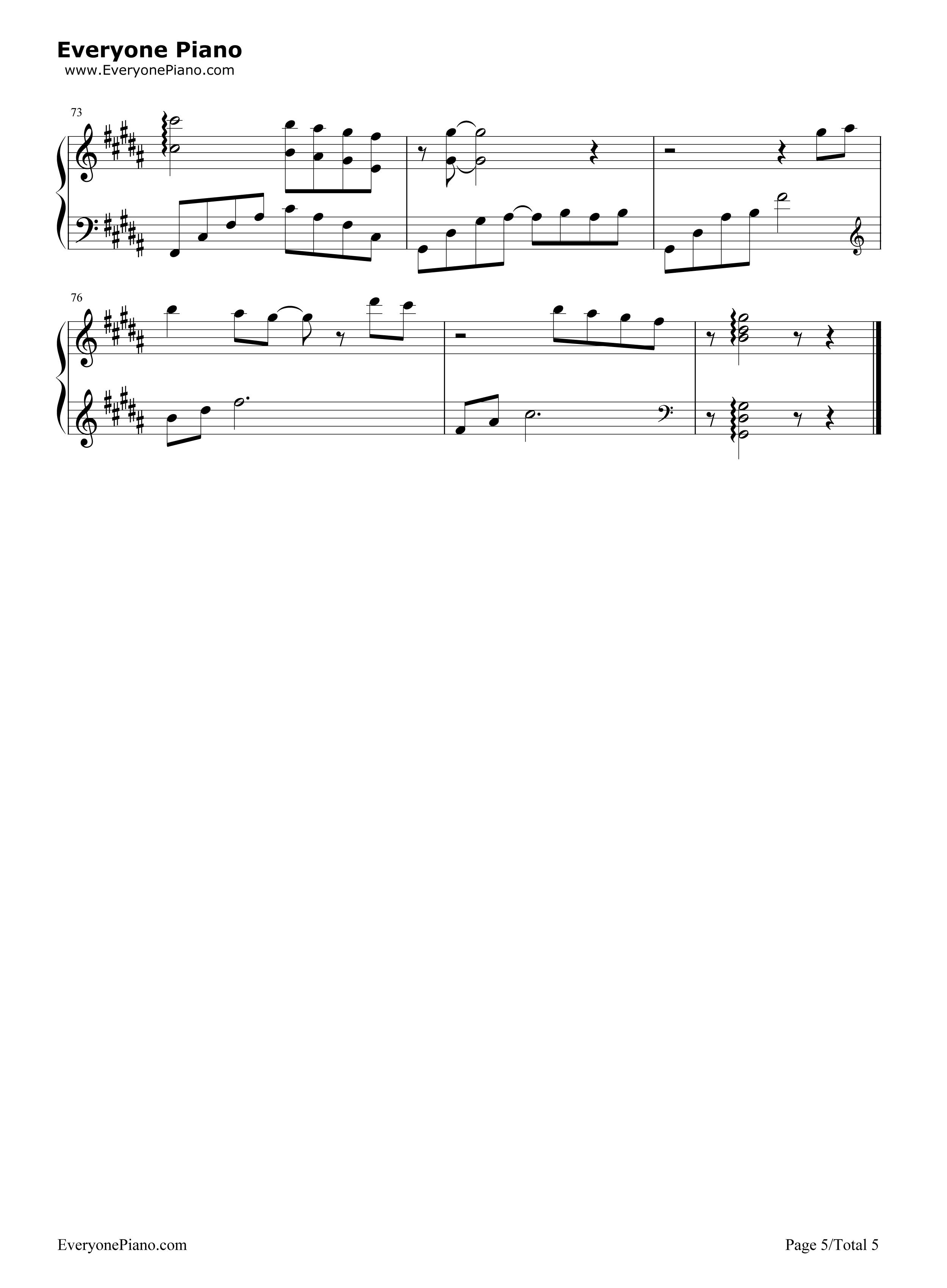 太多-陈冠蒲五线谱预览5-钢琴谱档(五线谱,双手简谱
