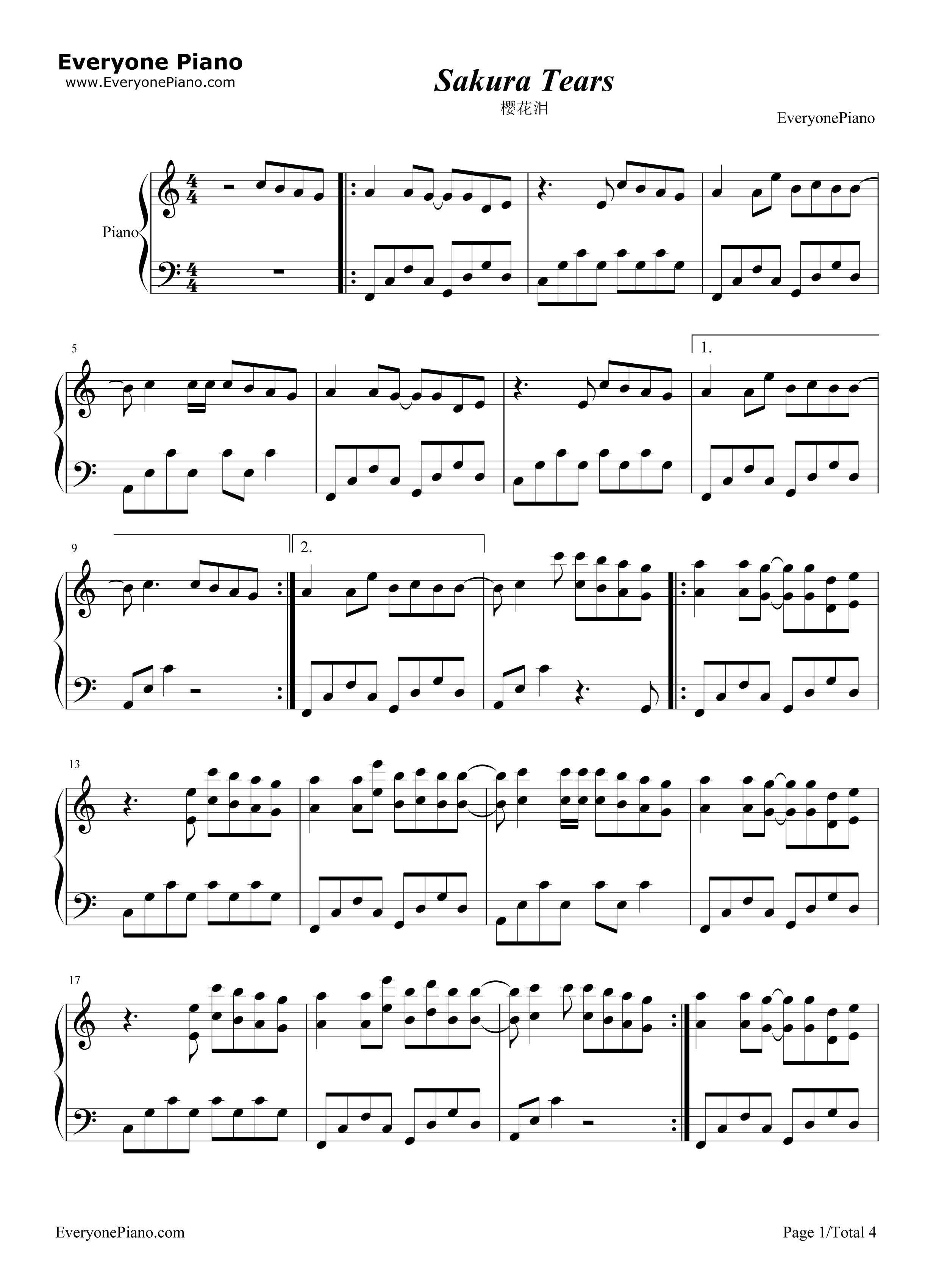 钢琴曲谱 轻音乐 sakura tears-樱花泪 sakura tears-樱花泪五线谱