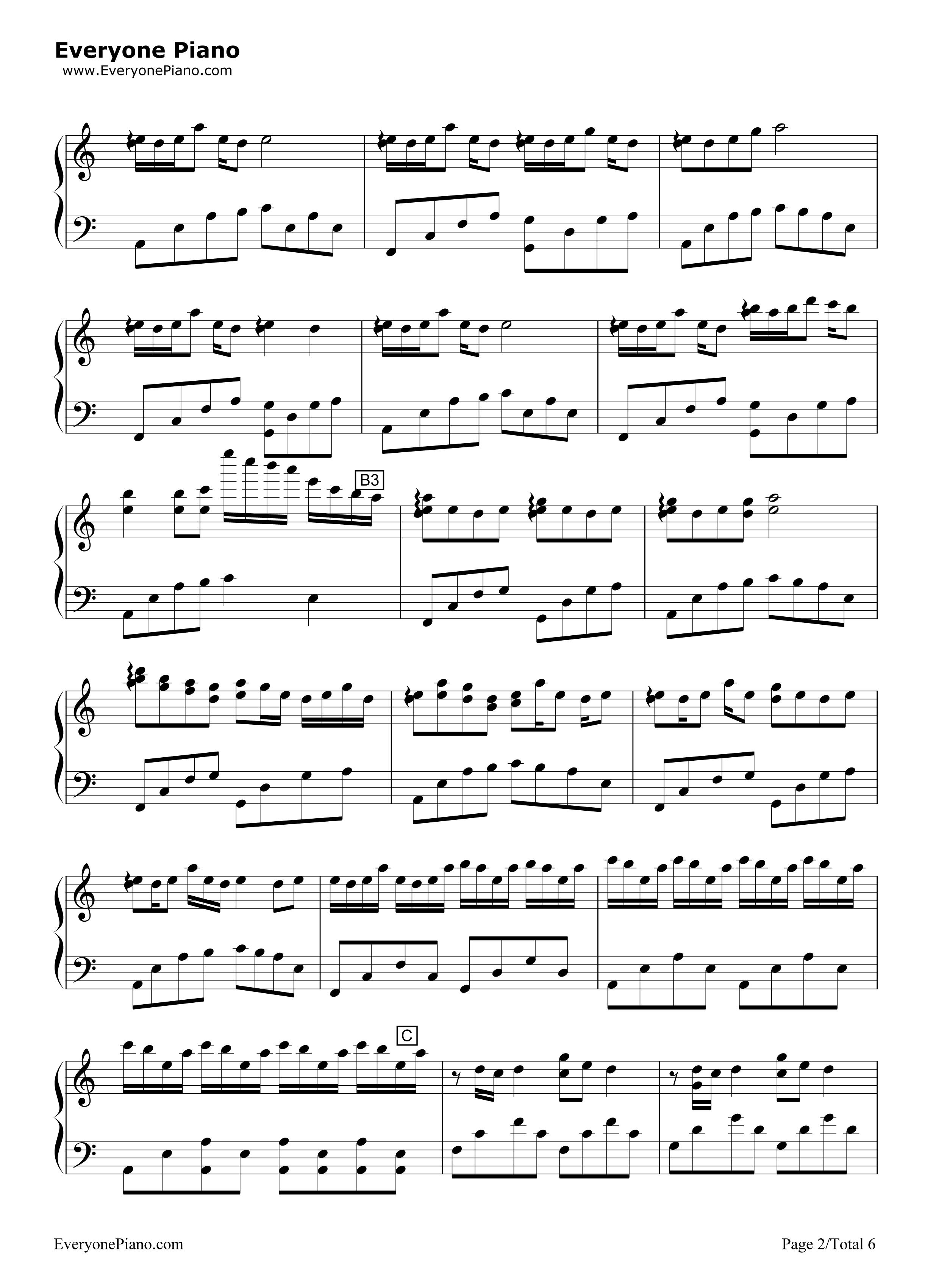 钢琴曲谱 轻音乐 luv letter-c调版 luv letter-c调版五线谱预览2  }