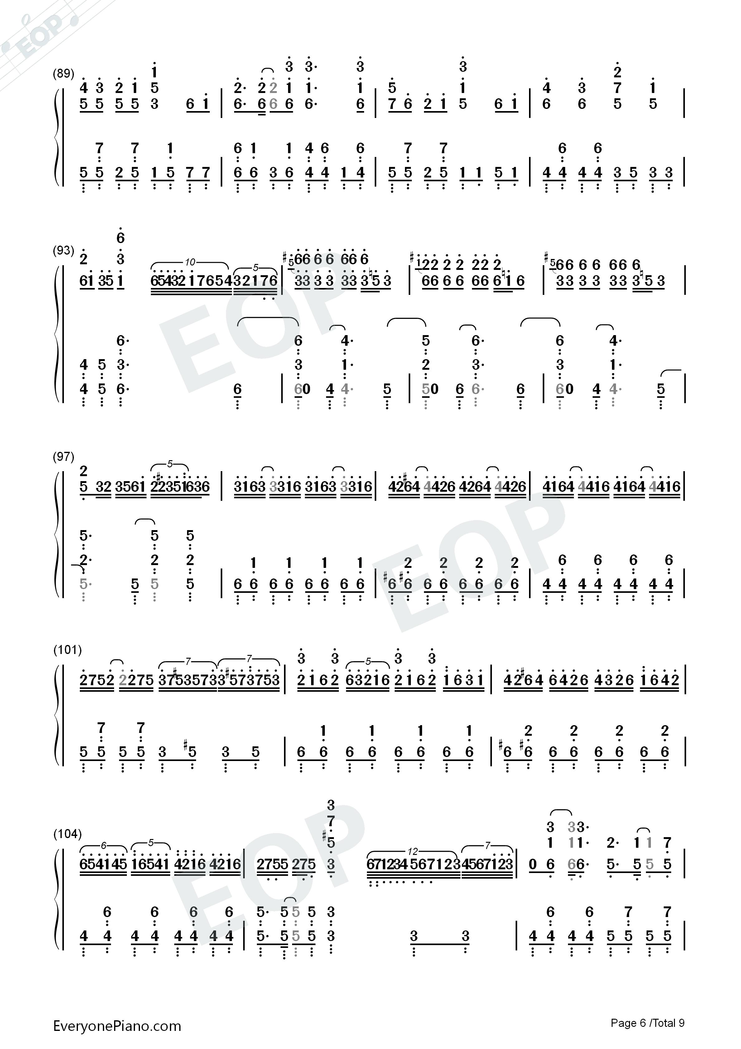 千本樱-钢琴原版双手简谱预览6